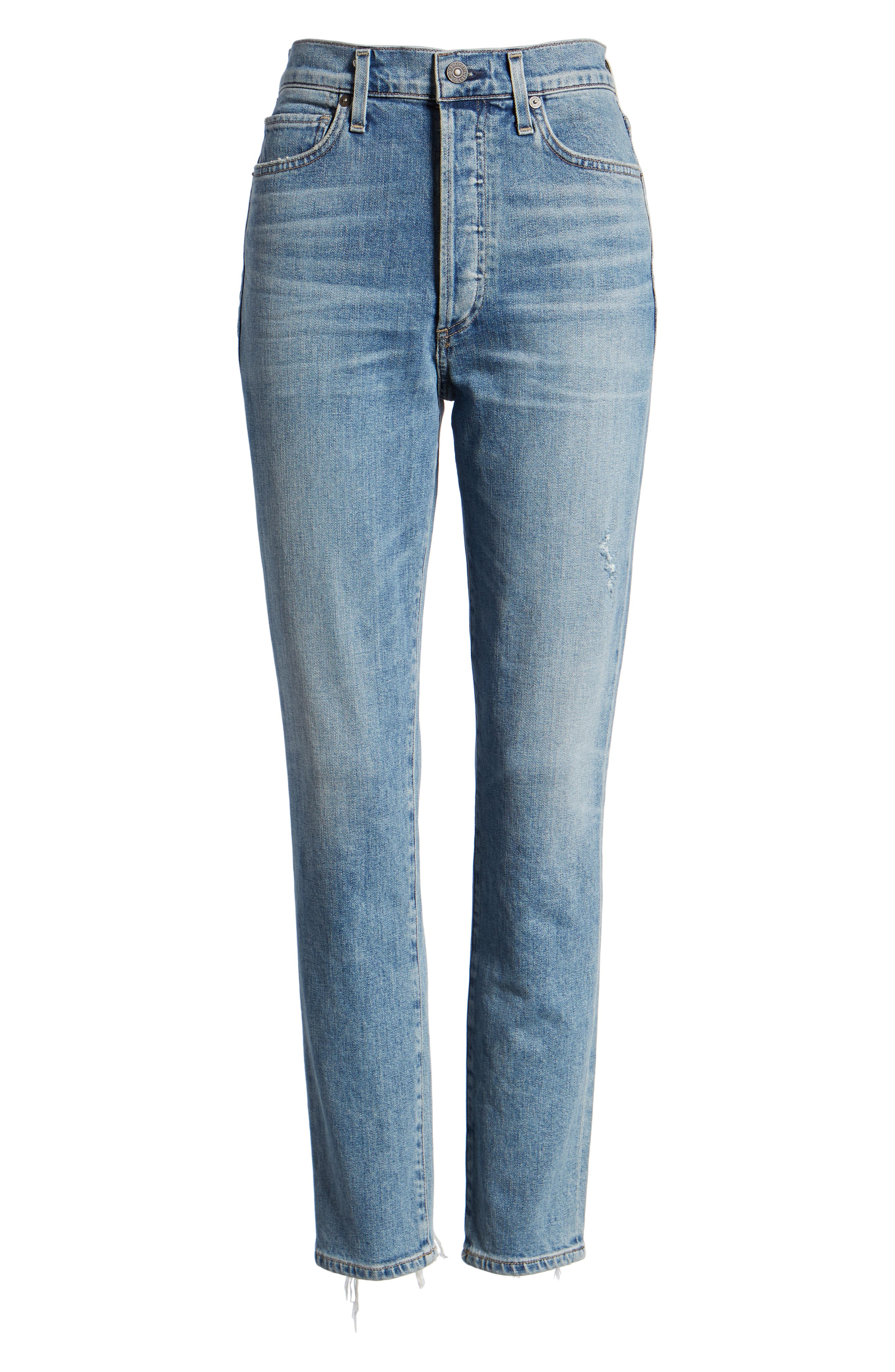 CITIZENS OF HUMANITY, Olivia High Waist Ankle Slim Jeans, Alternate thumbnail 7, color, BACK ROAD