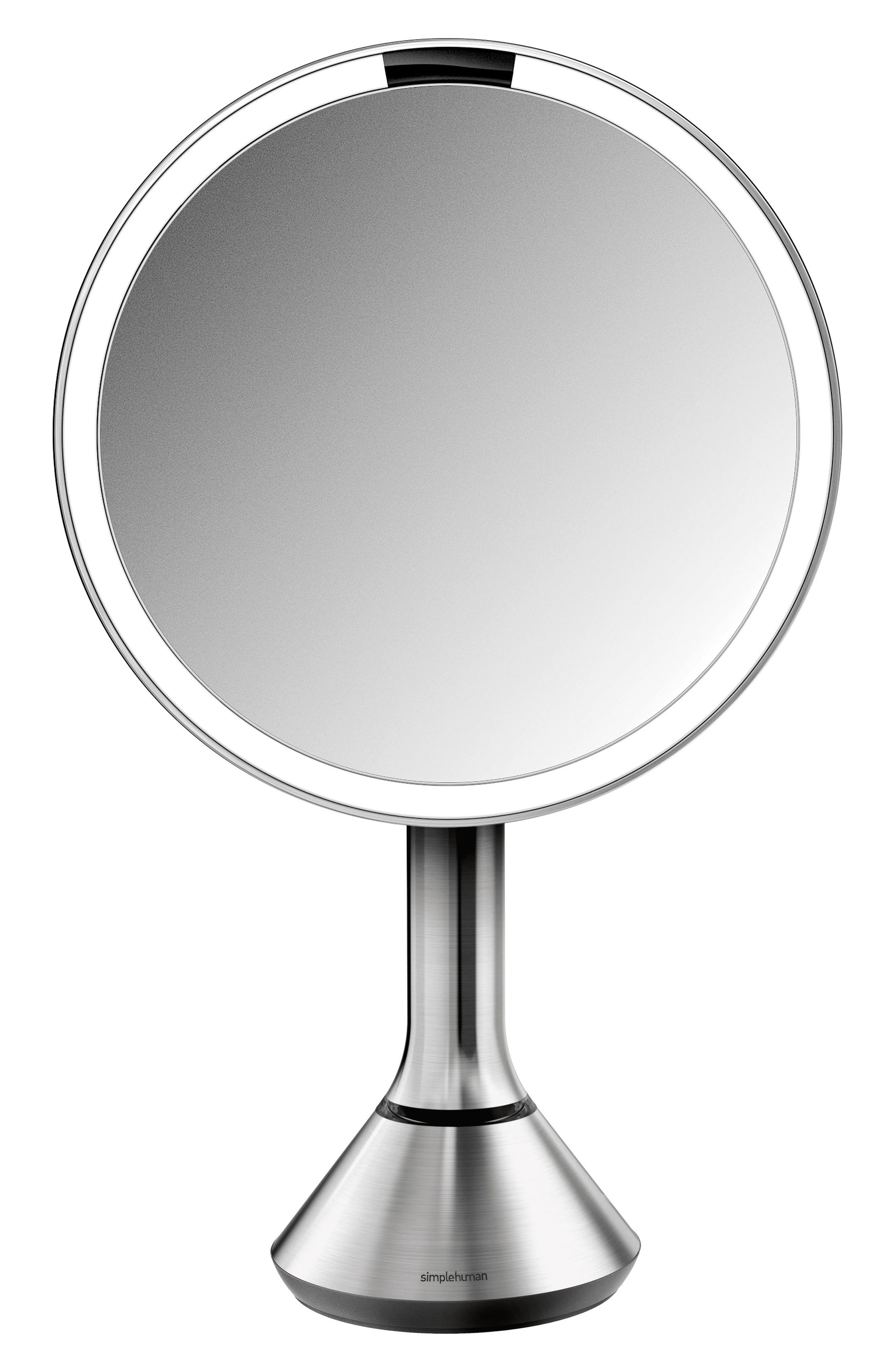 SIMPLEHUMAN, Eight Inch Sensor Mirror with Brightness Control, Main thumbnail 1, color, BRUSHED STAINLESS STEEL