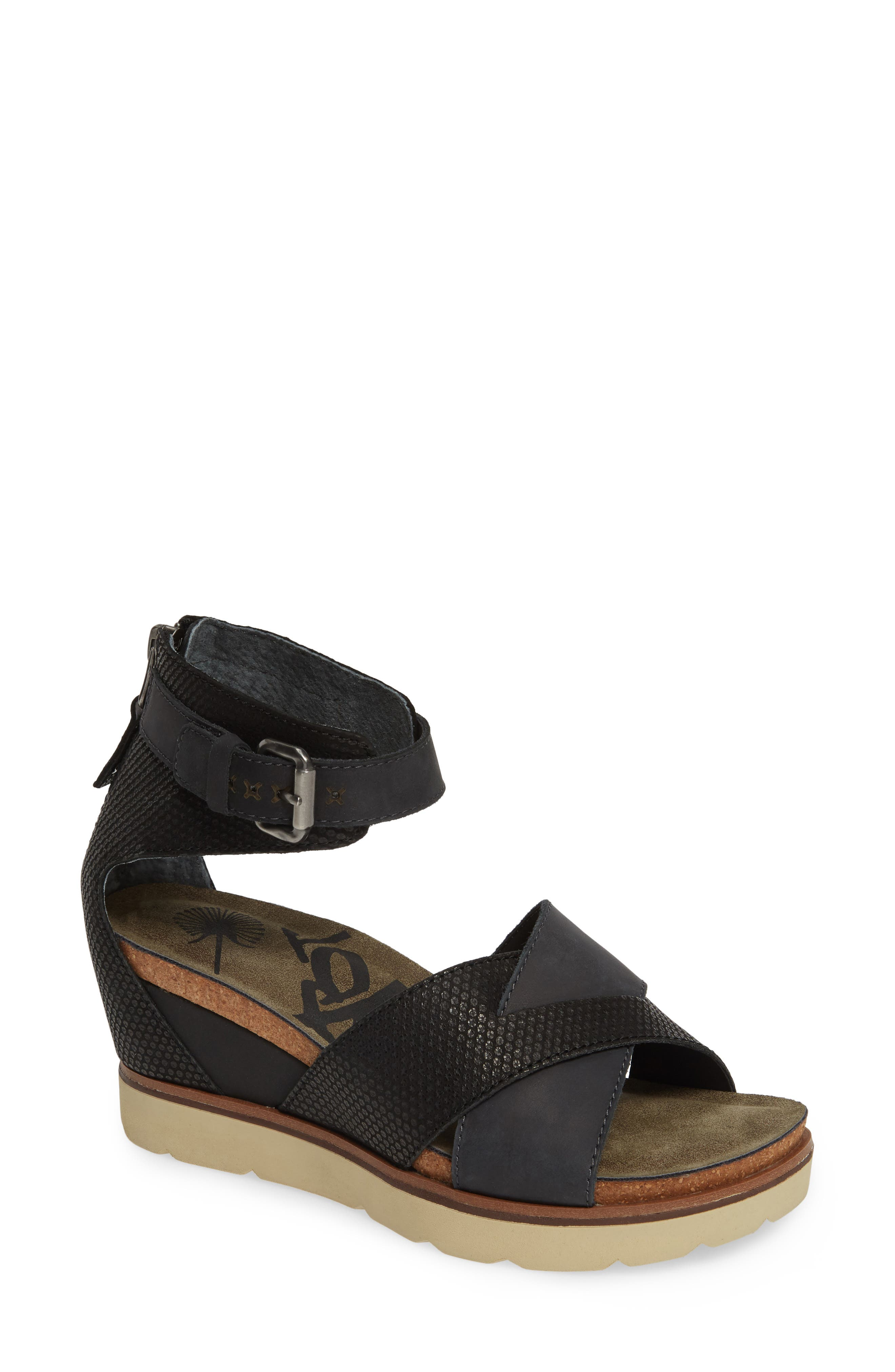OTBT Teamwork Ankle Strap Sandal, Main, color, BLACK LEATHER