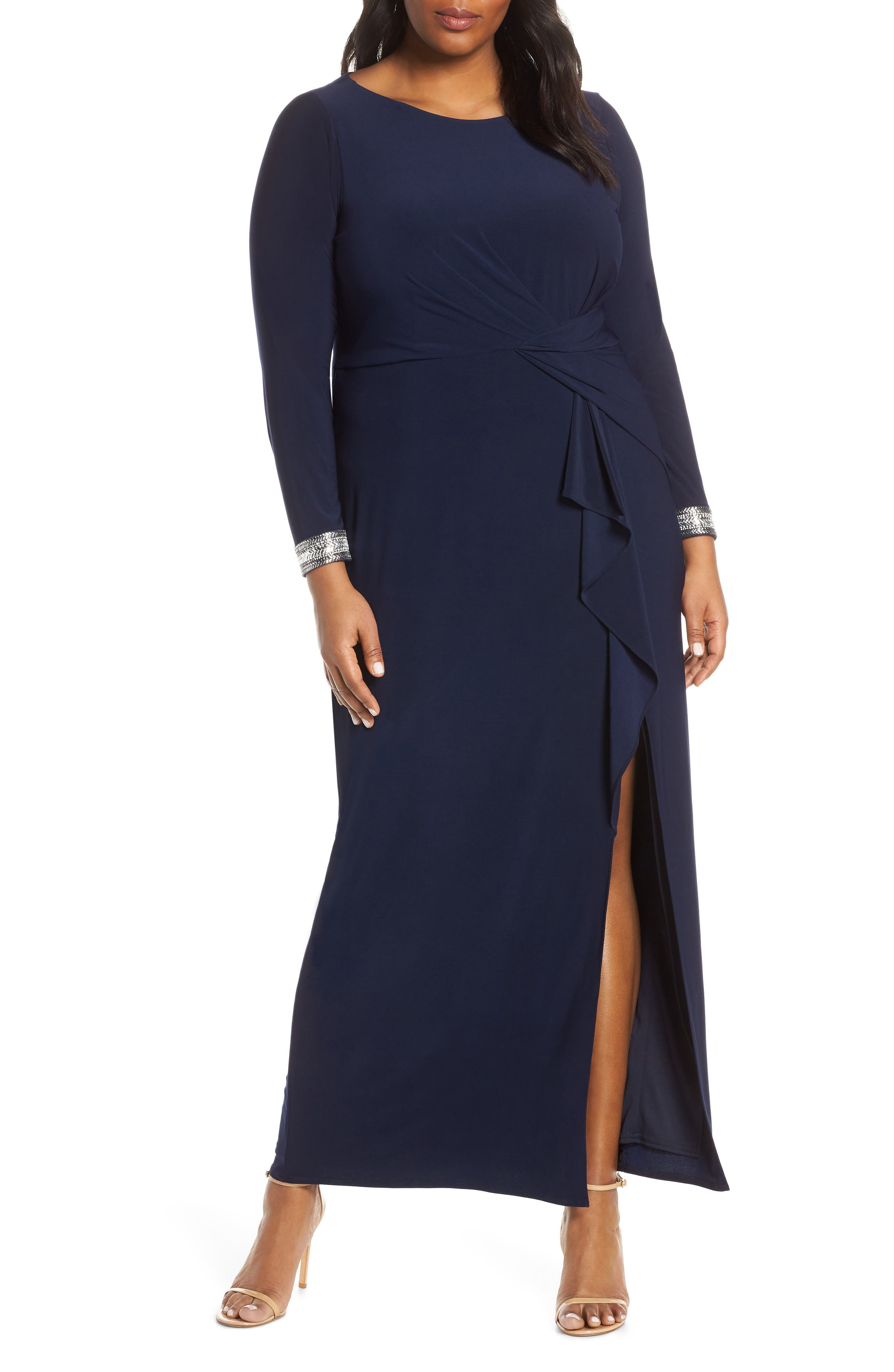 VINCE CAMUTO, Beaded Cuff Ruched Jersey Gown, Main thumbnail 1, color, NAVY