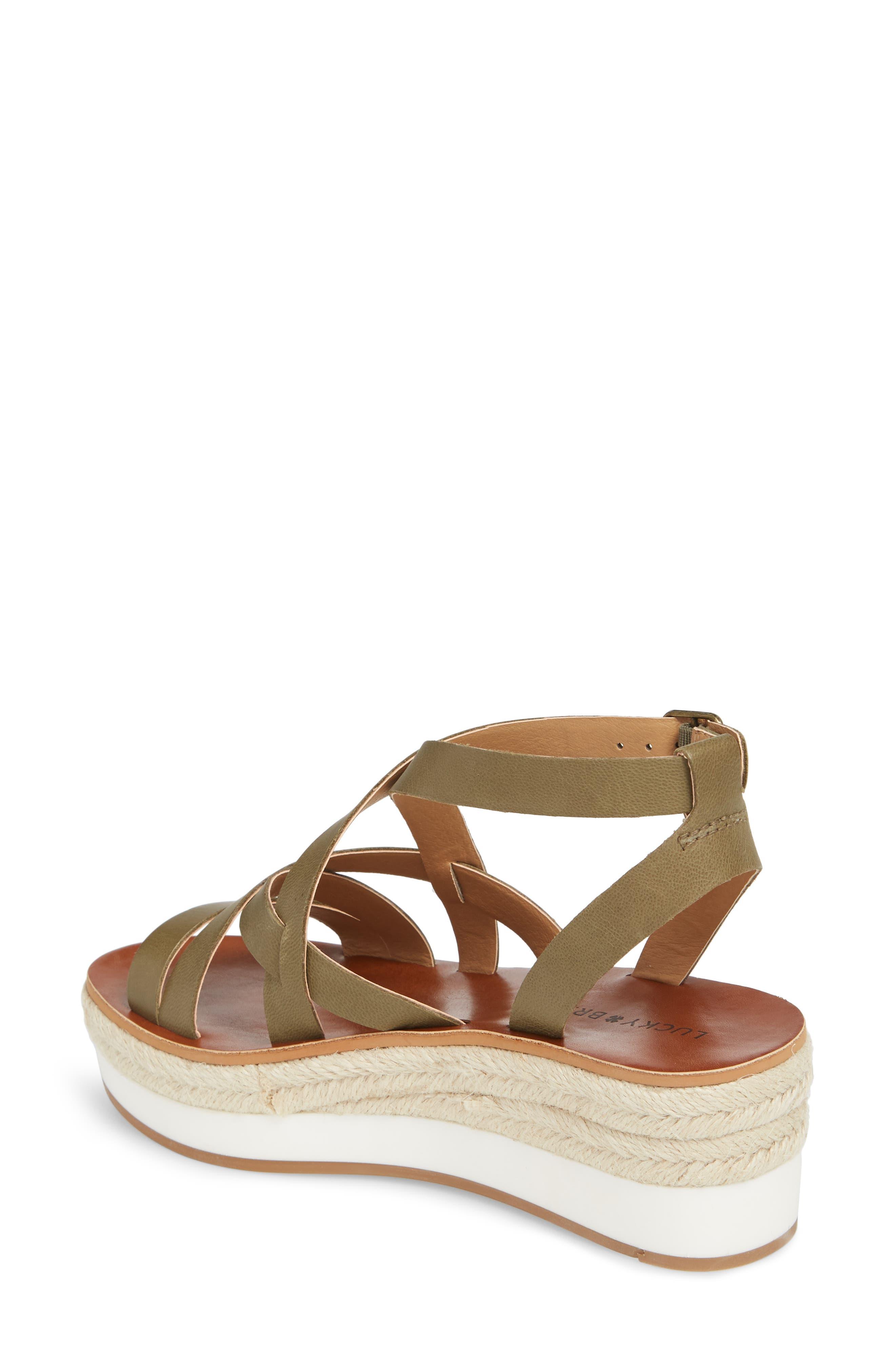 LUCKY BRAND, Jenepper Platform Wedge Sandal, Alternate thumbnail 2, color, DRAB LEATHER