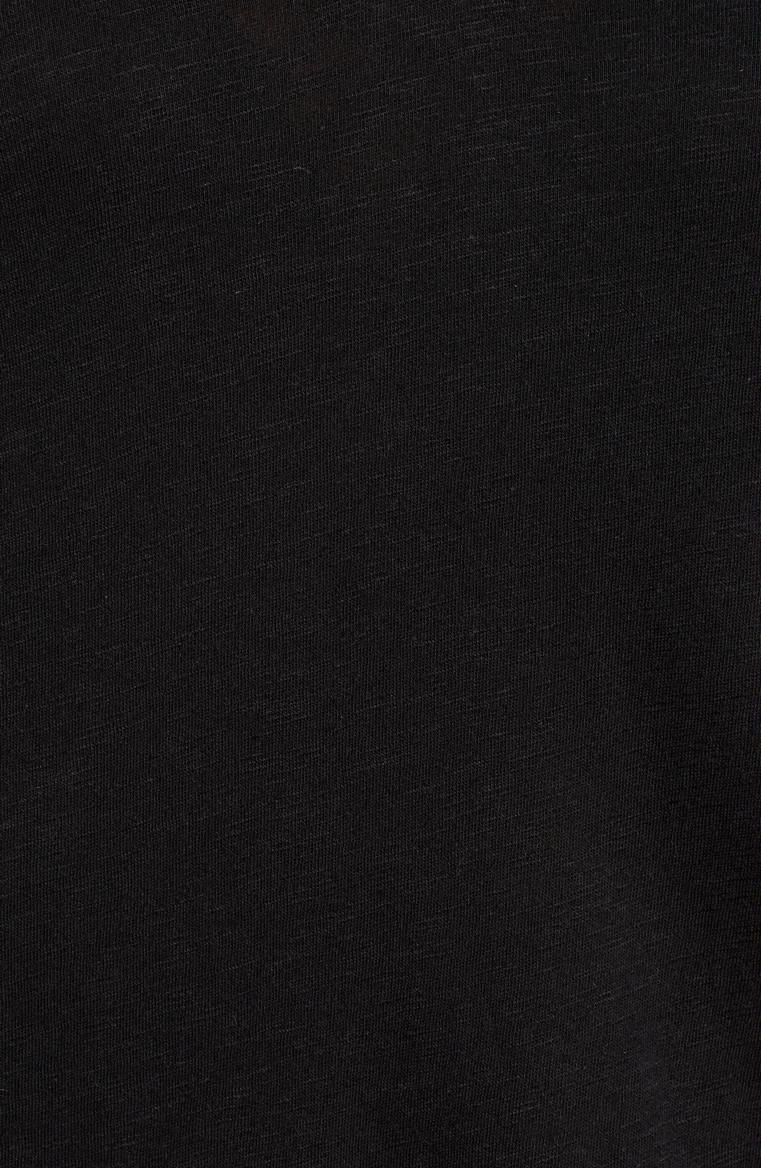 CASLON<SUP>®</SUP>, V-Neck Peplum Tee, Alternate thumbnail 5, color, BLACK