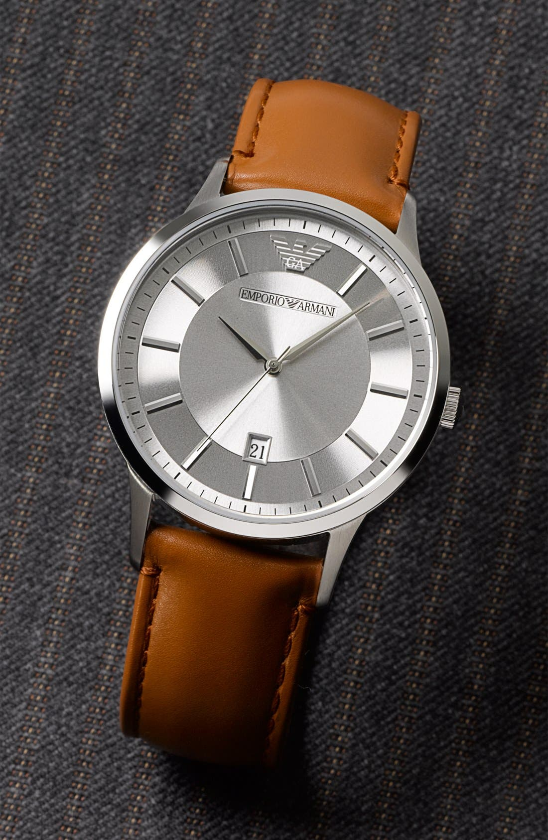 EMPORIO ARMANI, Round Leather Strap Watch, 43mm, Alternate thumbnail 3, color, 200