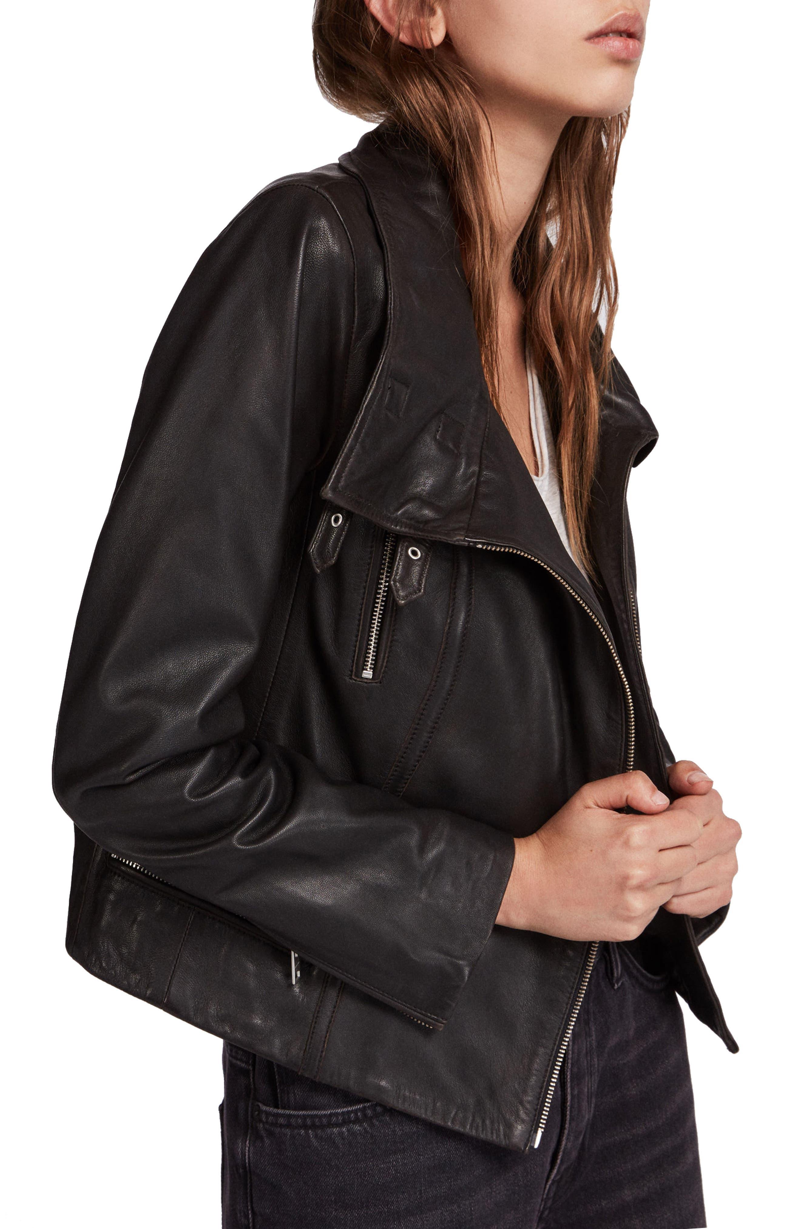 ALLSAINTS, Bales Leather Biker Jacket, Alternate thumbnail 3, color, BLACK