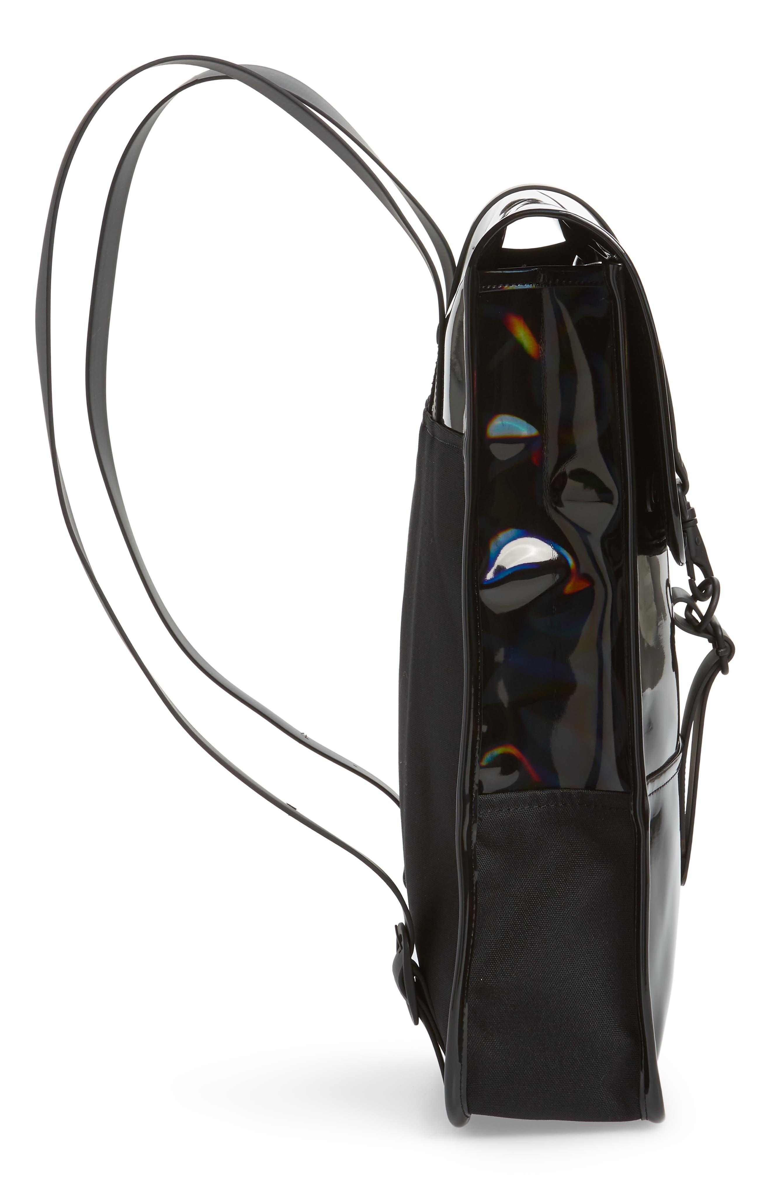 RAINS, Mini Waterproof Holographic Backpack, Alternate thumbnail 5, color, BLACK