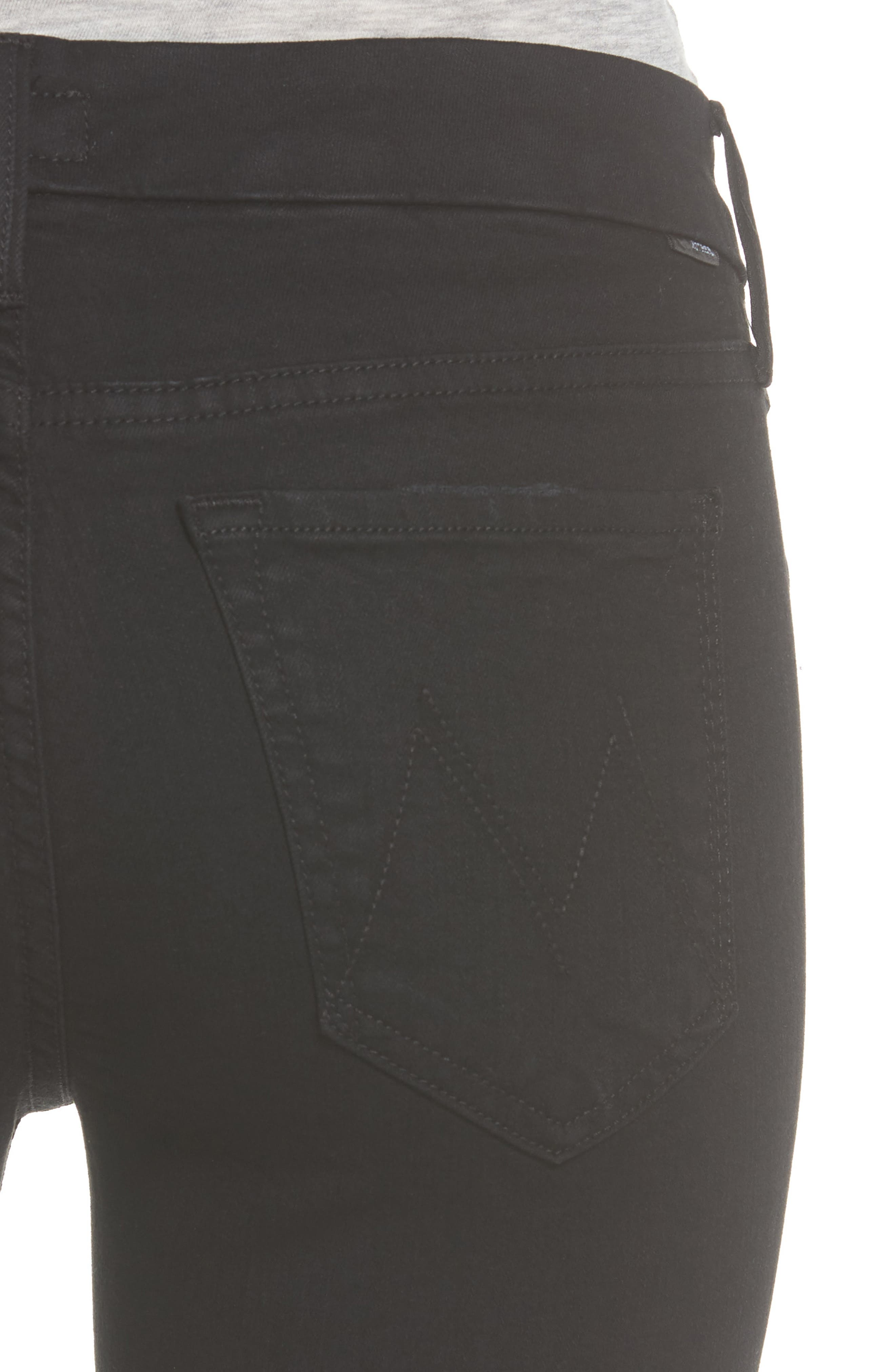 MOTHER, 'The Looker' Mid Rise Skinny Jeans, Alternate thumbnail 5, color, NOT GUILTY