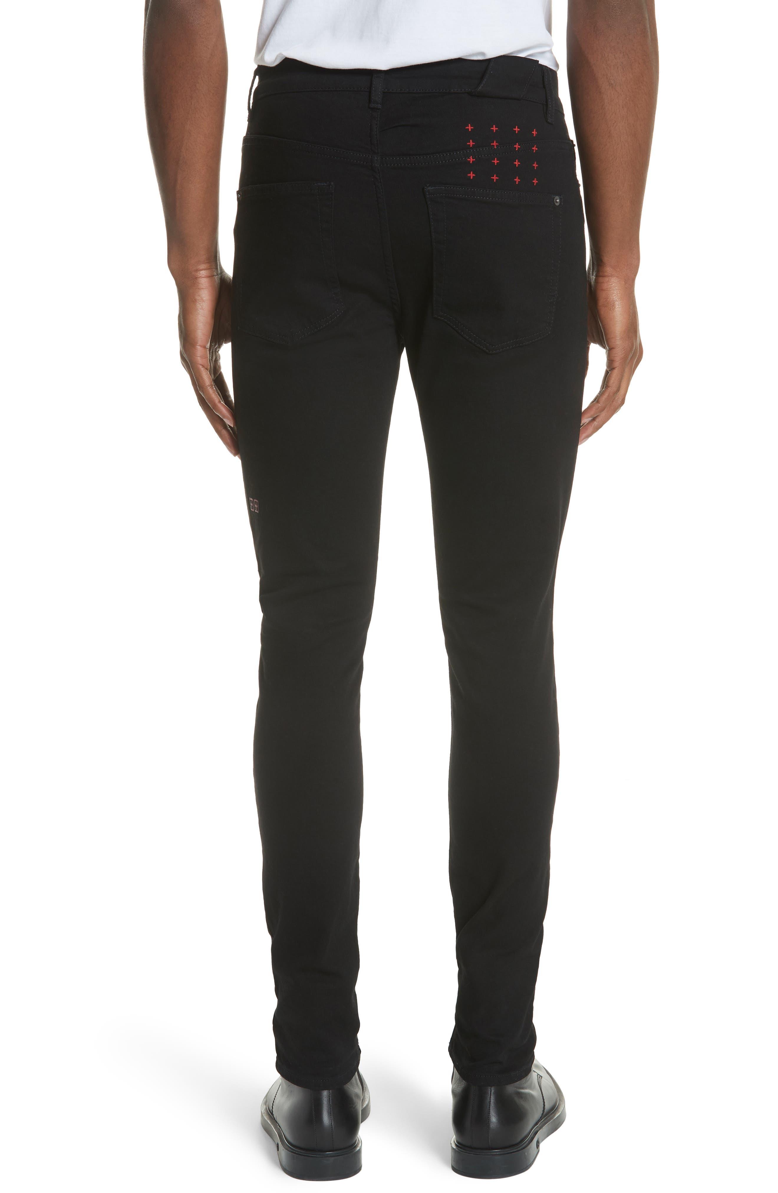 KSUBI, Chitch Laid Skinny Fit Jeans, Alternate thumbnail 2, color, BLACK
