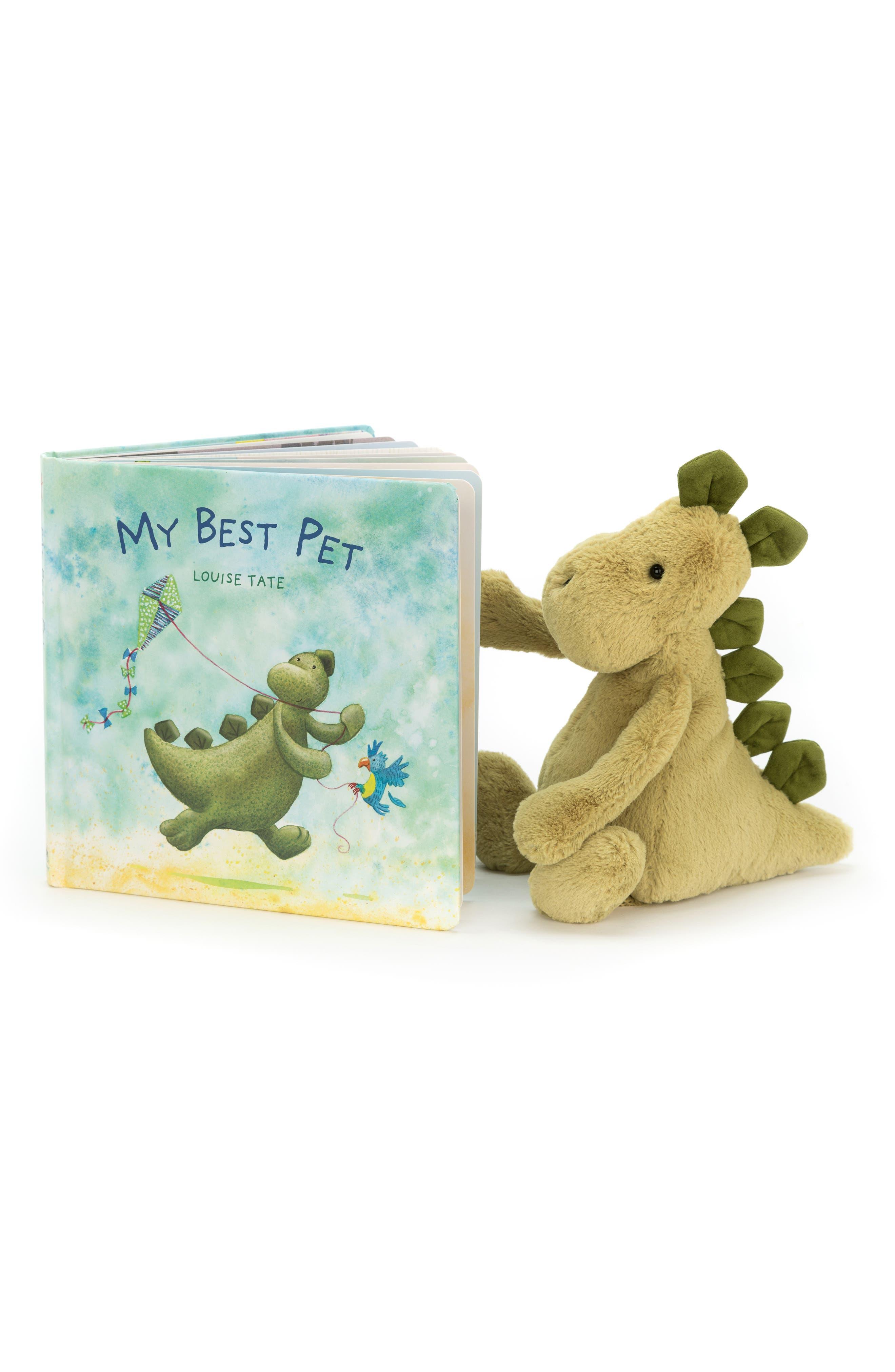 JELLYCAT, 'My Best Pet' Board Book & Stuffed Animal, Main thumbnail 1, color, GREEN