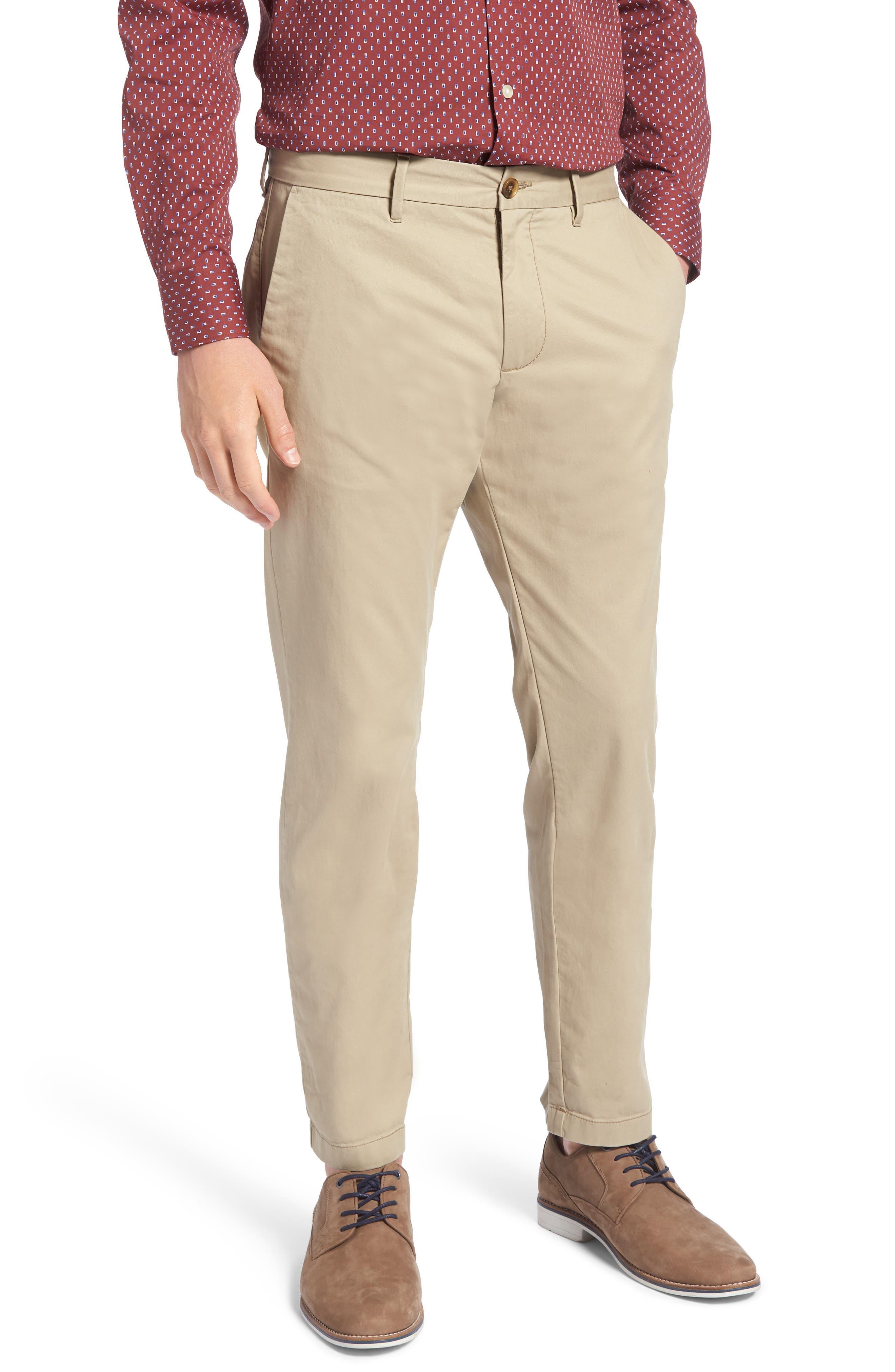1901 Ballard Slim Fit Stretch Chino Pants, Main, color, TAN BURROW