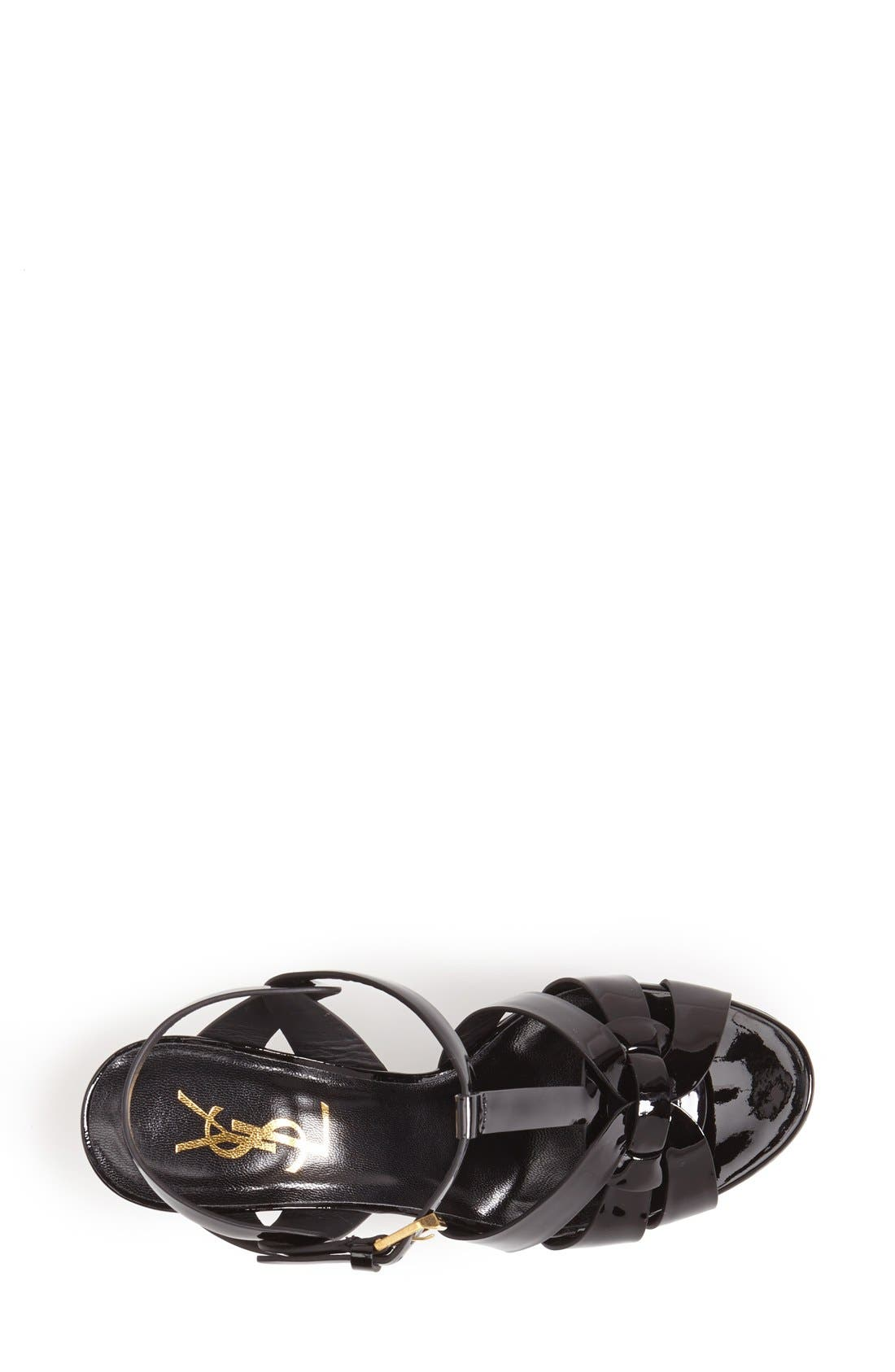 SAINT LAURENT, 'Tribute' T-Strap Sandal, Alternate thumbnail 3, color, BLACK