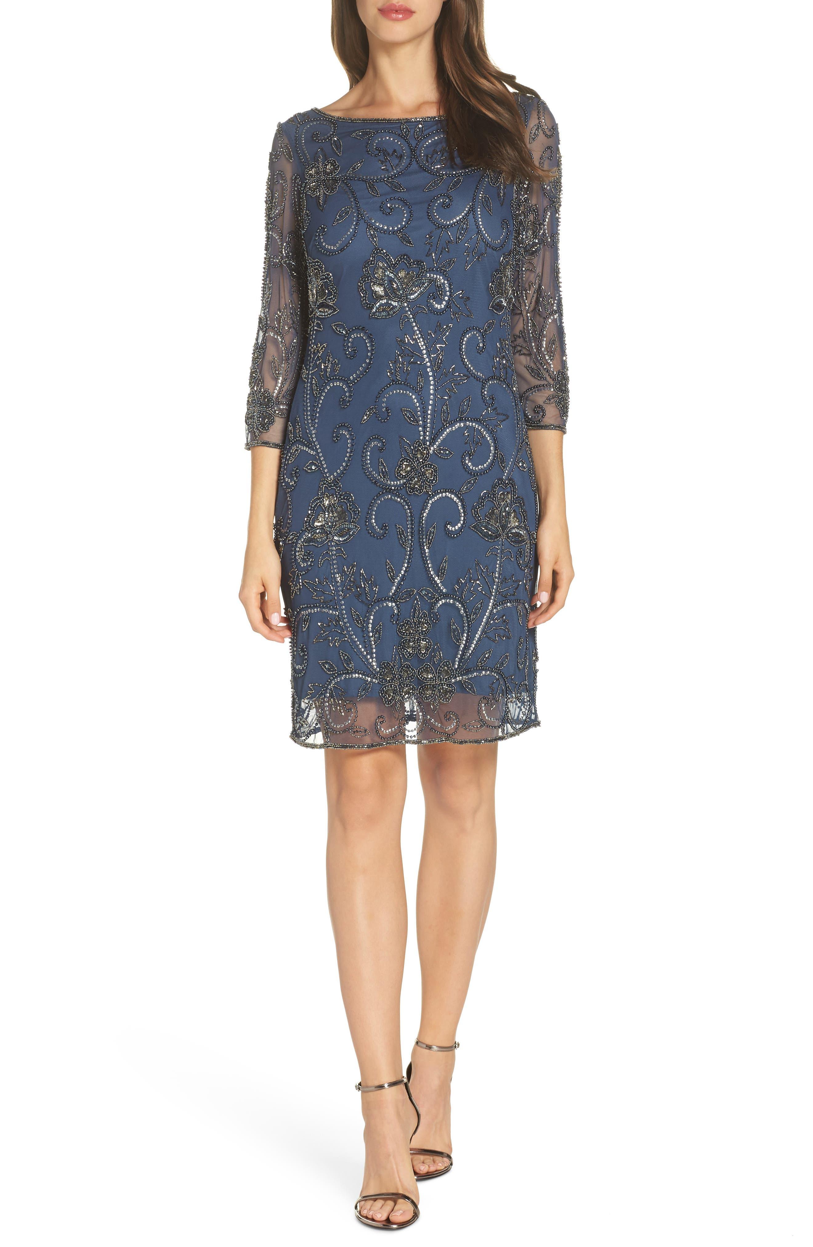 PISARRO NIGHTS, Embellished Mesh Sheath Dress, Main thumbnail 1, color, BLUE