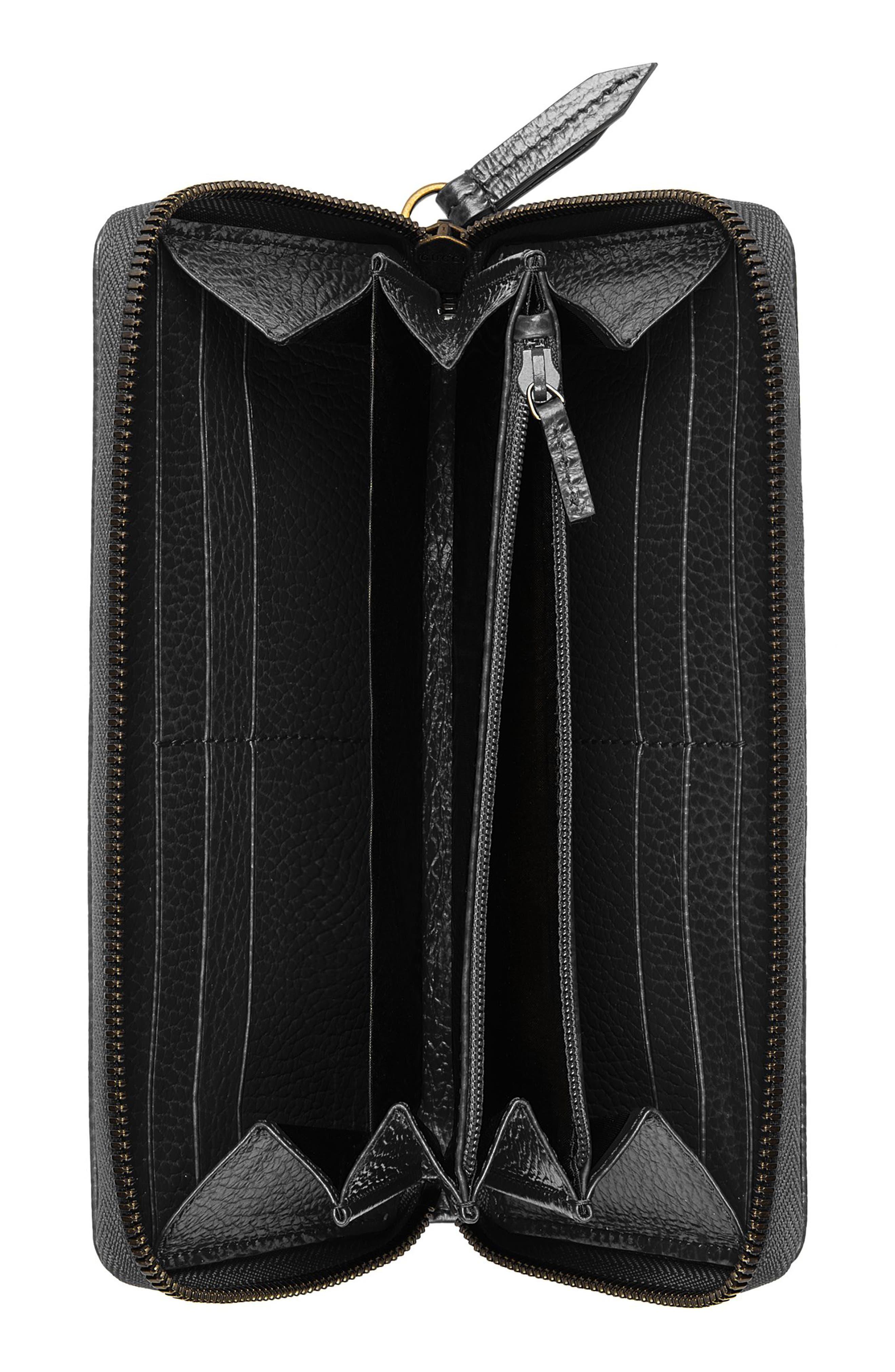 GUCCI, Farfalla Zip Around Leather Wallet, Alternate thumbnail 4, color, NERO/ CRYSTAL