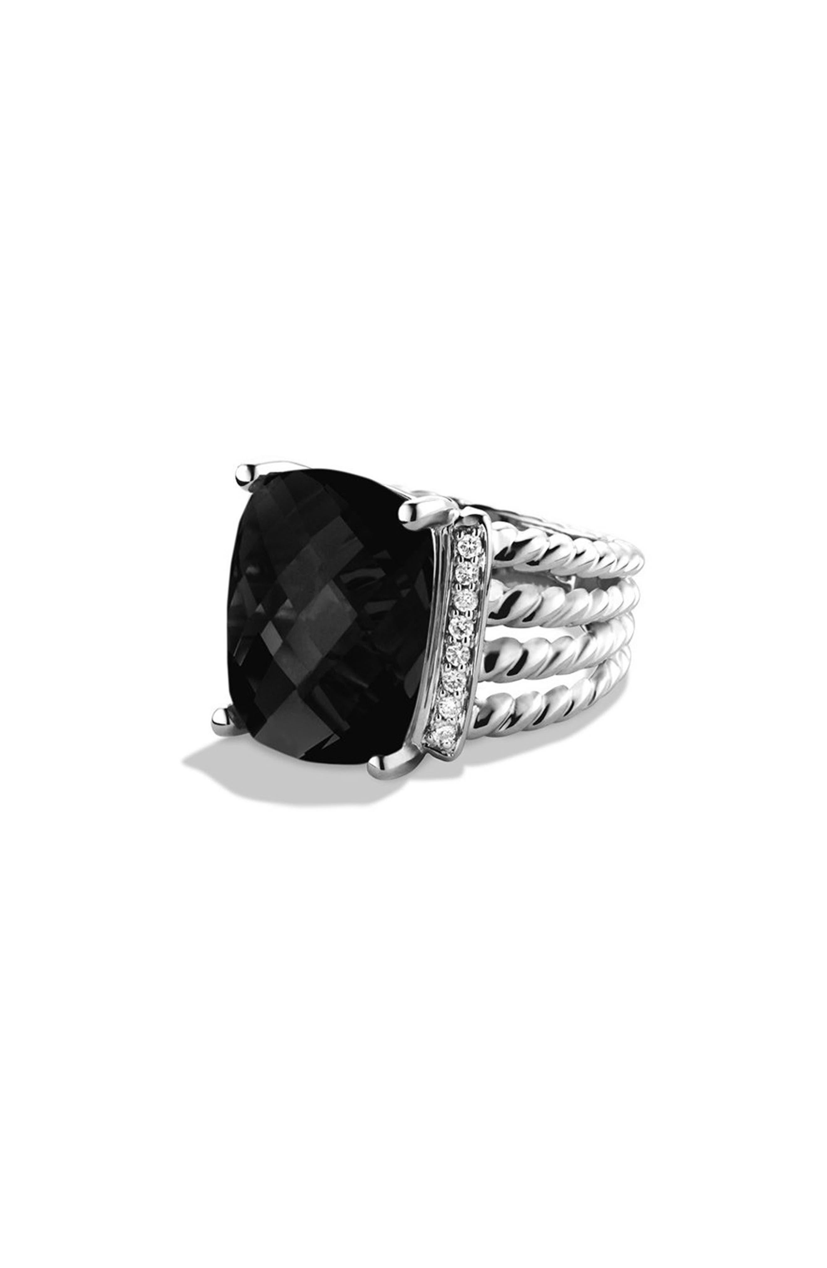 DAVID YURMAN, 'Wheaton' Ring with Semiprecious Stone & Diamonds, Alternate thumbnail 6, color, BLACK ONYX