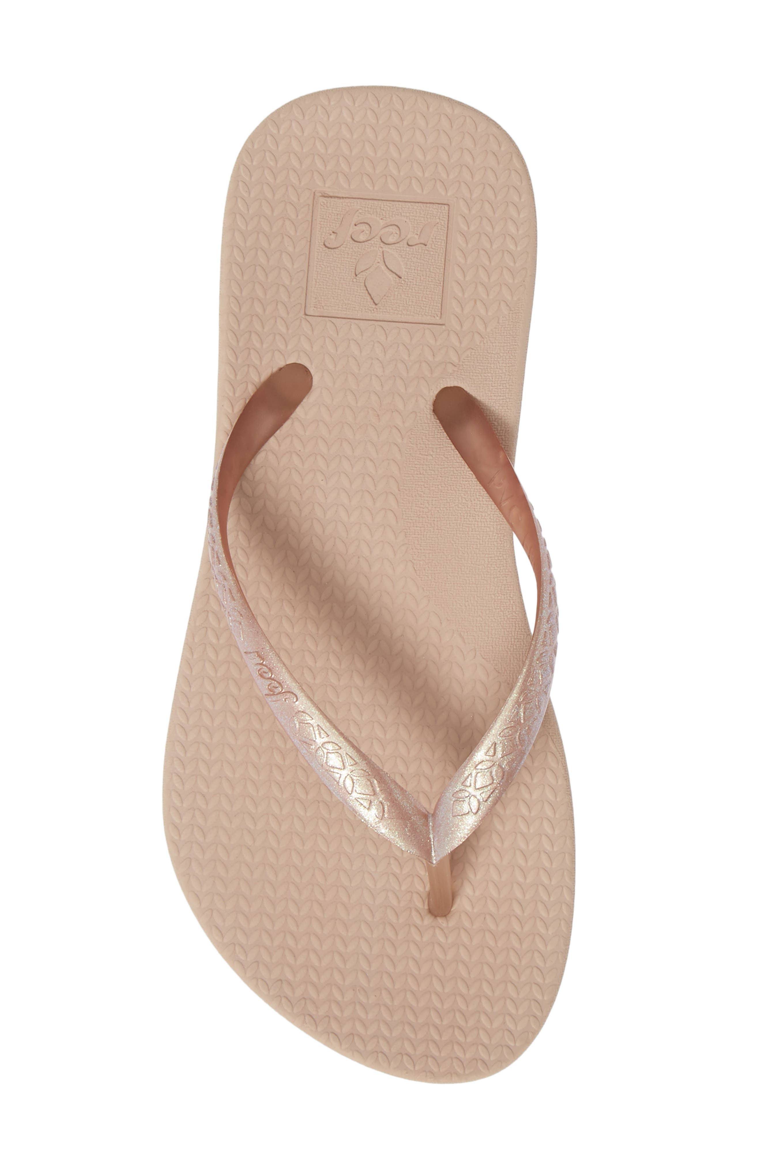 REEF, Escape Lux Metals Flip Flop, Alternate thumbnail 5, color, ROSE GOLD