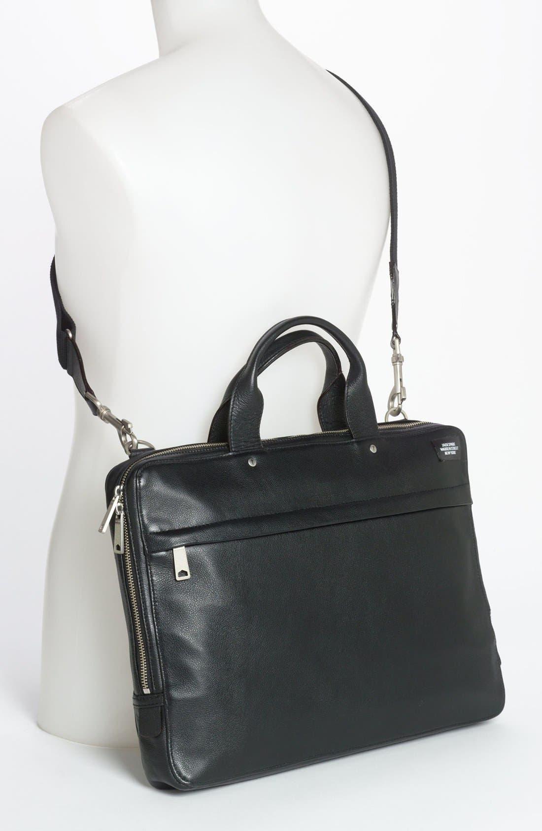 JACK SPADE, Slim Leather Briefcase, Alternate thumbnail 2, color, 001