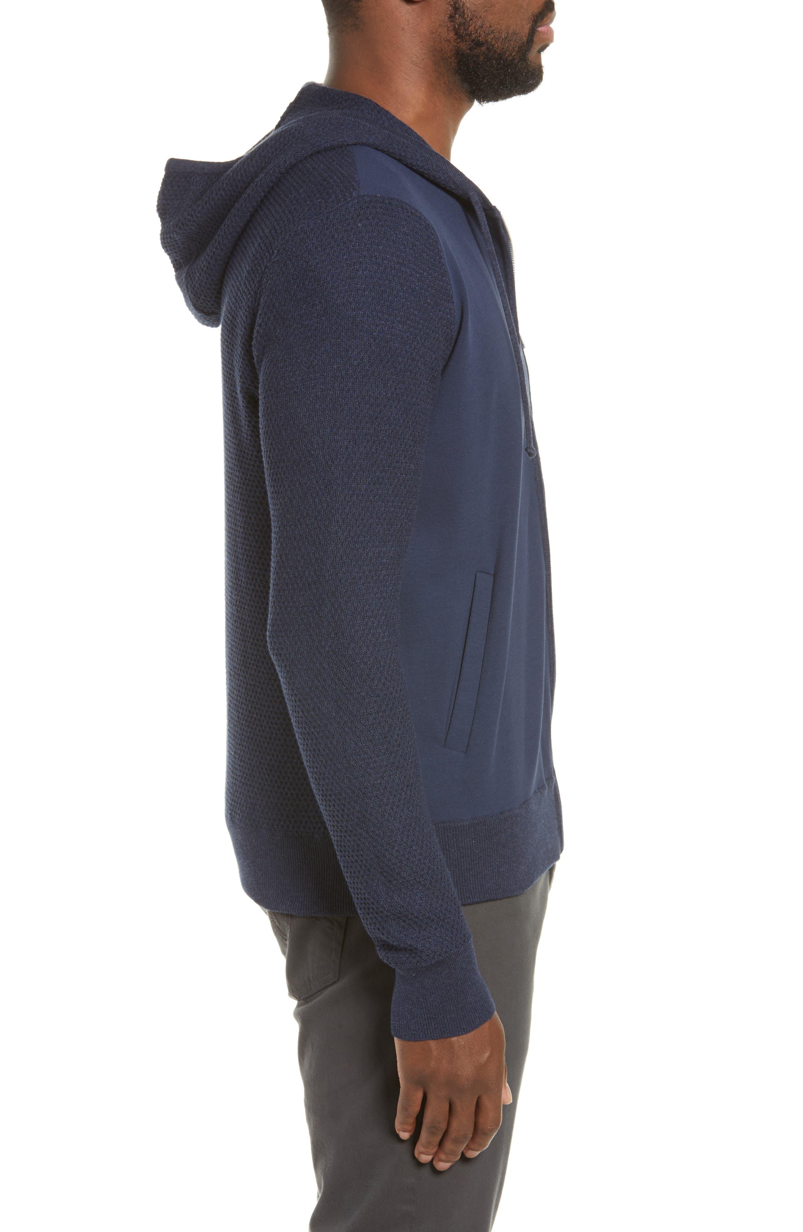 ZACHARY PRELL, Cedarhurst Hooded Zip Sweater, Alternate thumbnail 4, color, NAVY