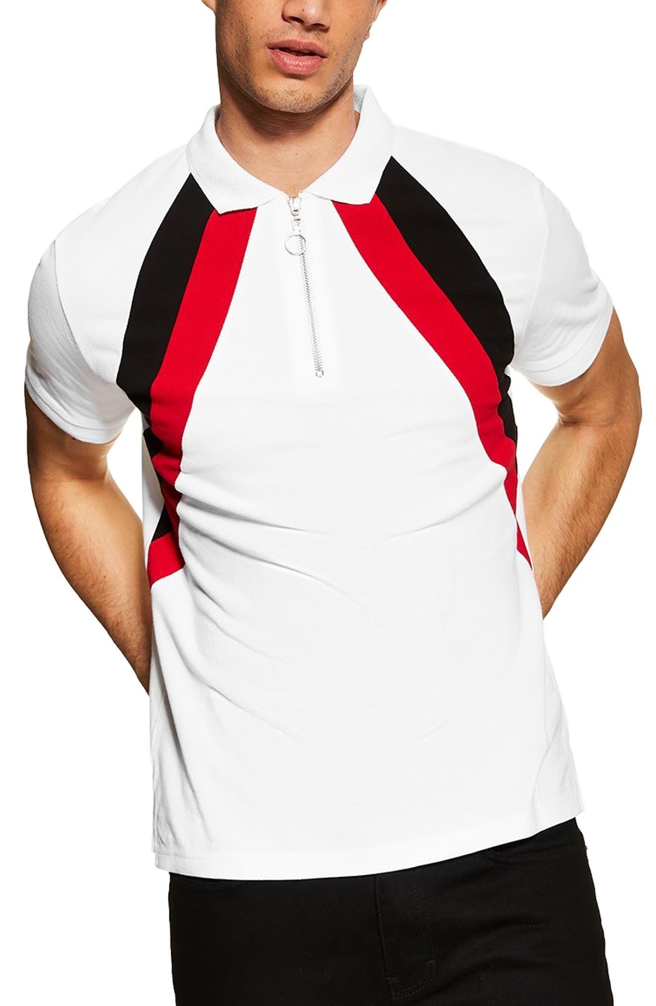TOPMAN Stripe Zip Polo, Main, color, WHITE