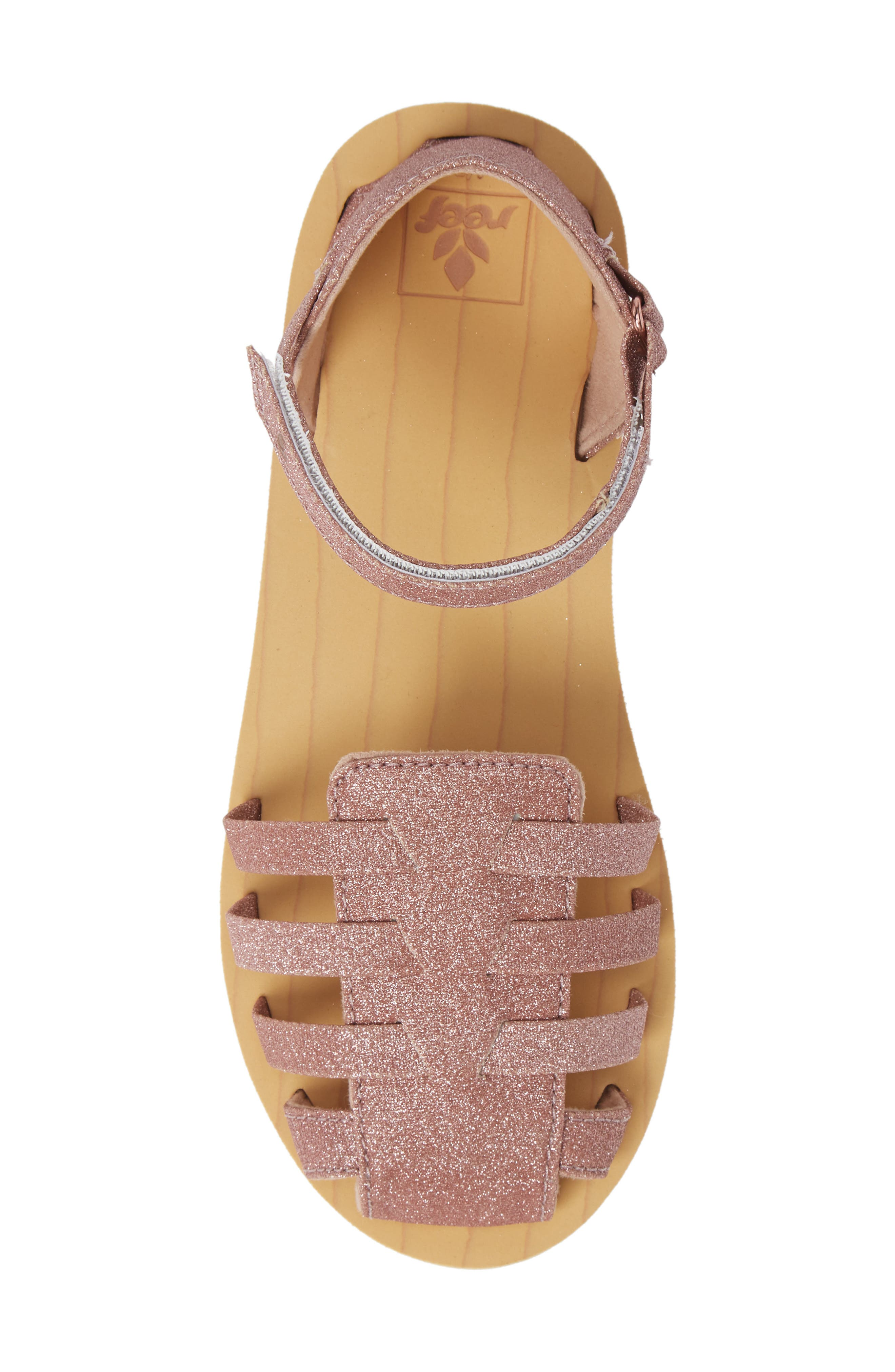 REEF, Little Reef Prep Glitter Fisherman Sandal, Alternate thumbnail 5, color, ROSE