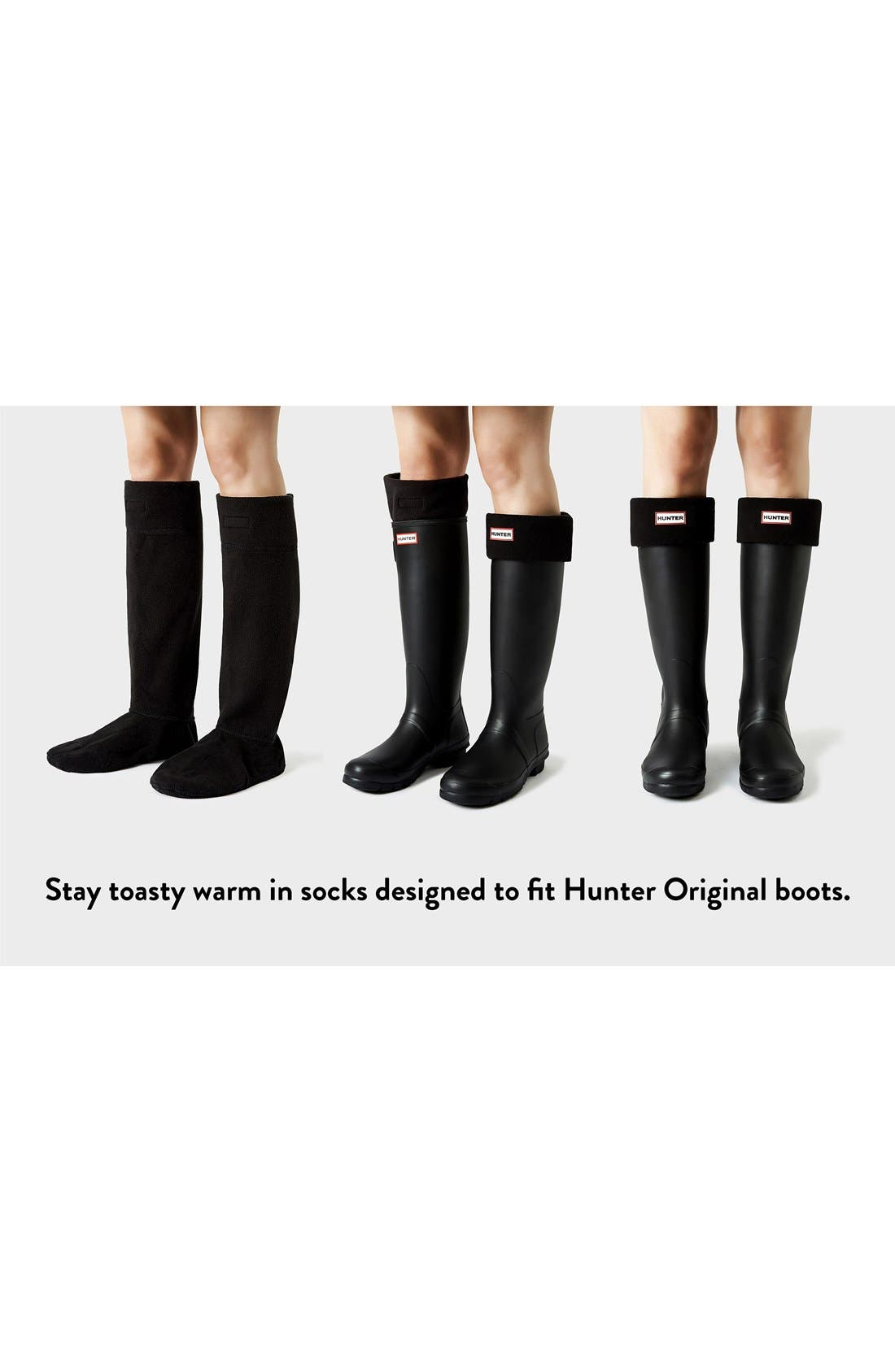 HUNTER, Original Tall Cable Knit Cuff Welly Boot Socks, Alternate thumbnail 3, color, BLACK