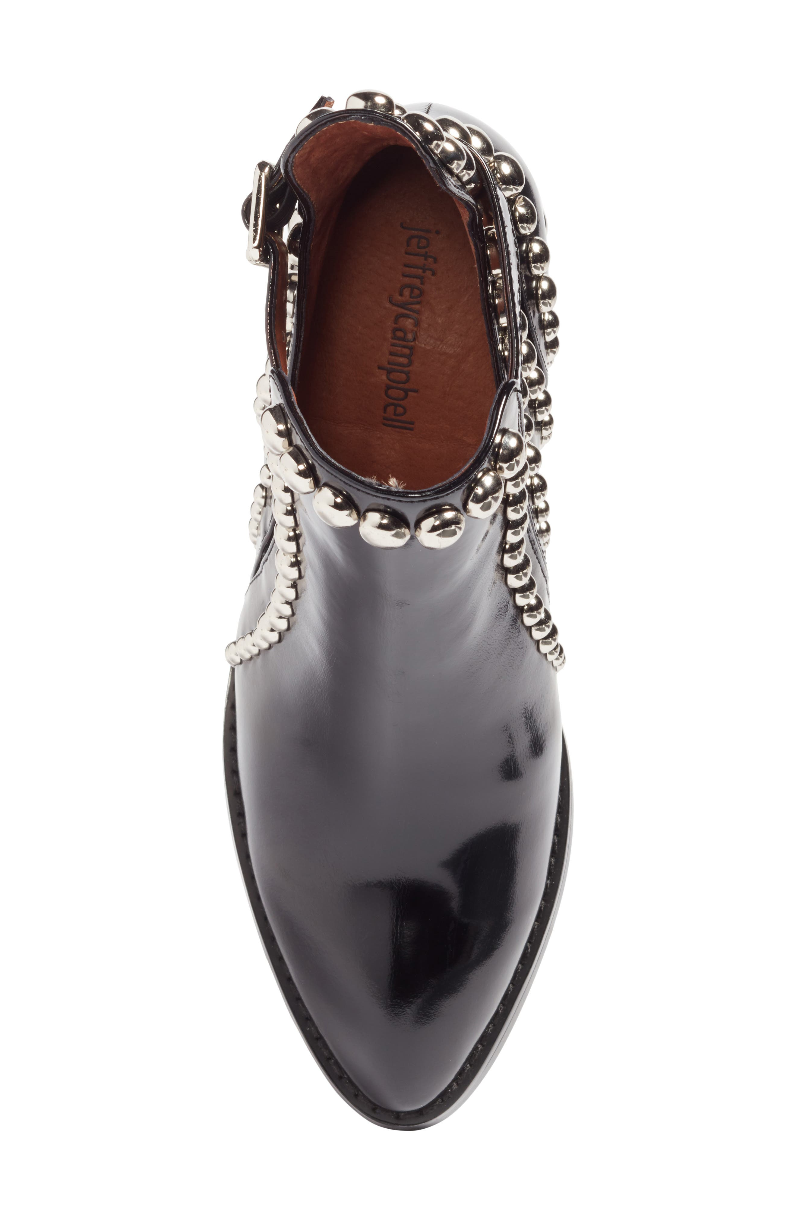 JEFFREY CAMPBELL, Rylance Studded Bootie, Alternate thumbnail 5, color, BLACK BOX SILVER LEATHER