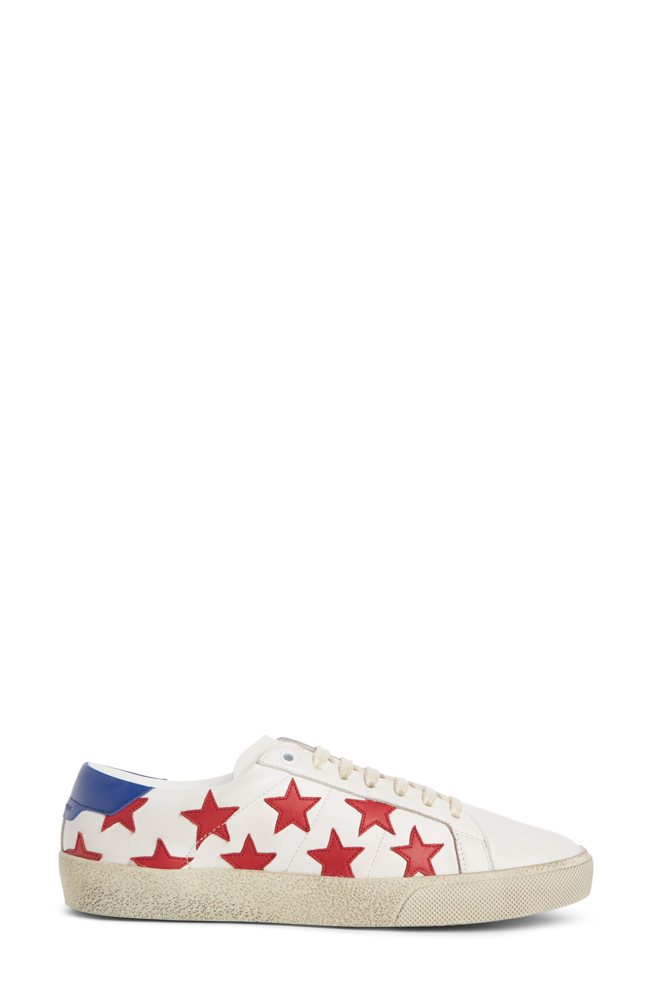 SAINT LAURENT, Classic Court Sneaker, Alternate thumbnail 3, color, WHITE/ RED
