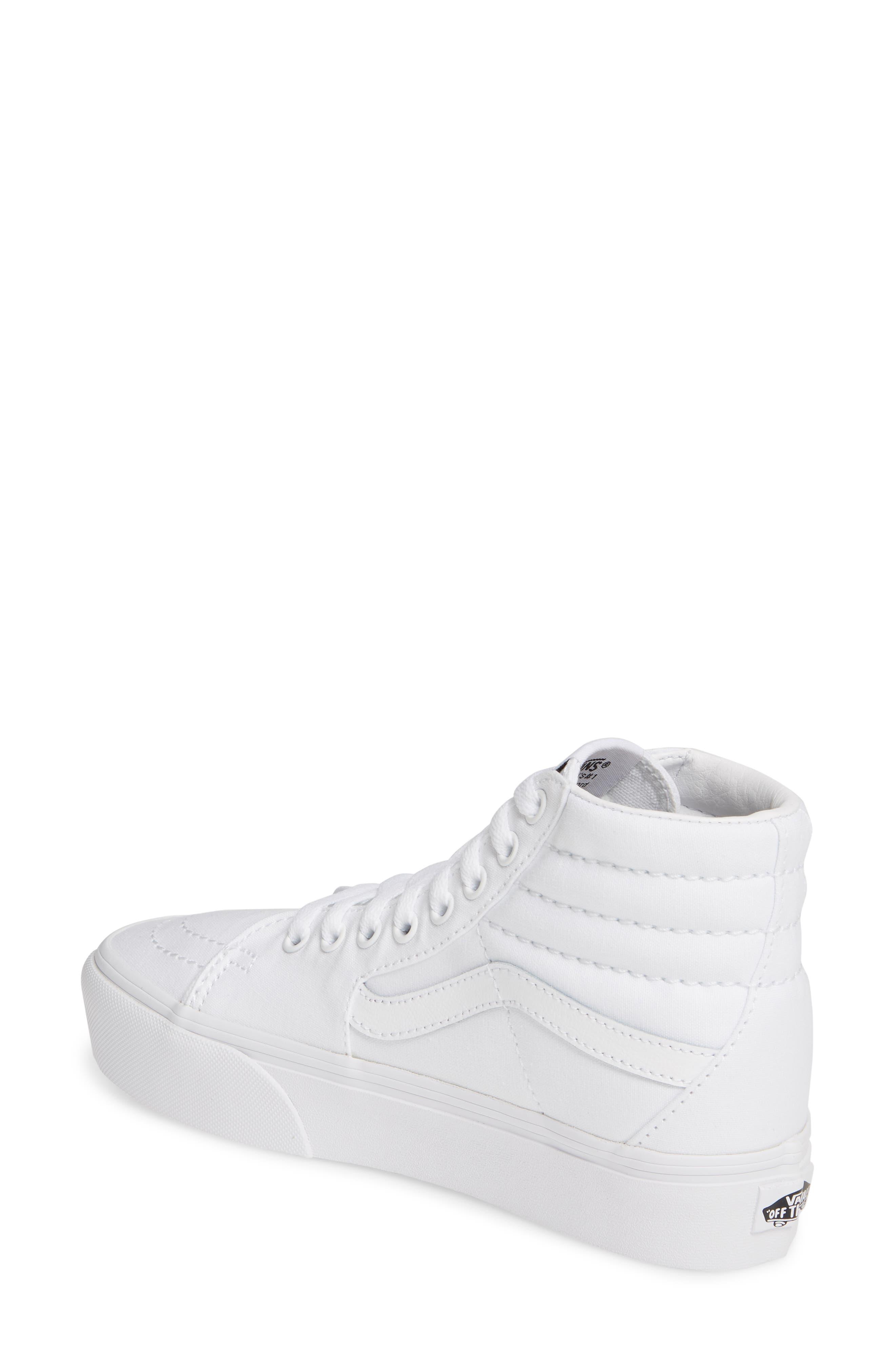 VANS, Sk8-Hi Platform Sneaker, Alternate thumbnail 2, color, TRUE WHITE/ TRUE WHITE
