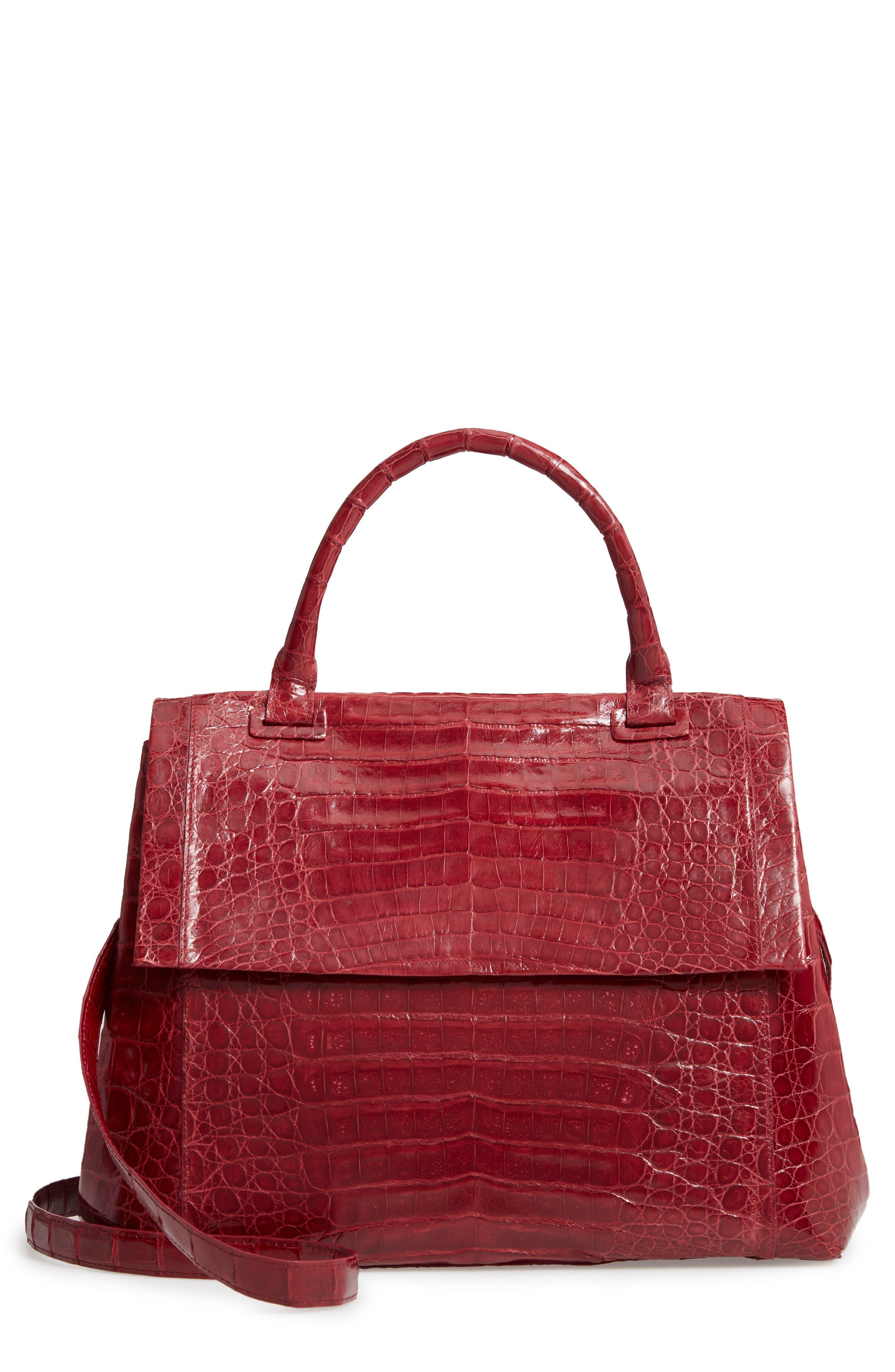 NANCY GONZALEZ Medium Sophie Genuine Crocodile Top Handle Bag, Main, color, RED SHINY