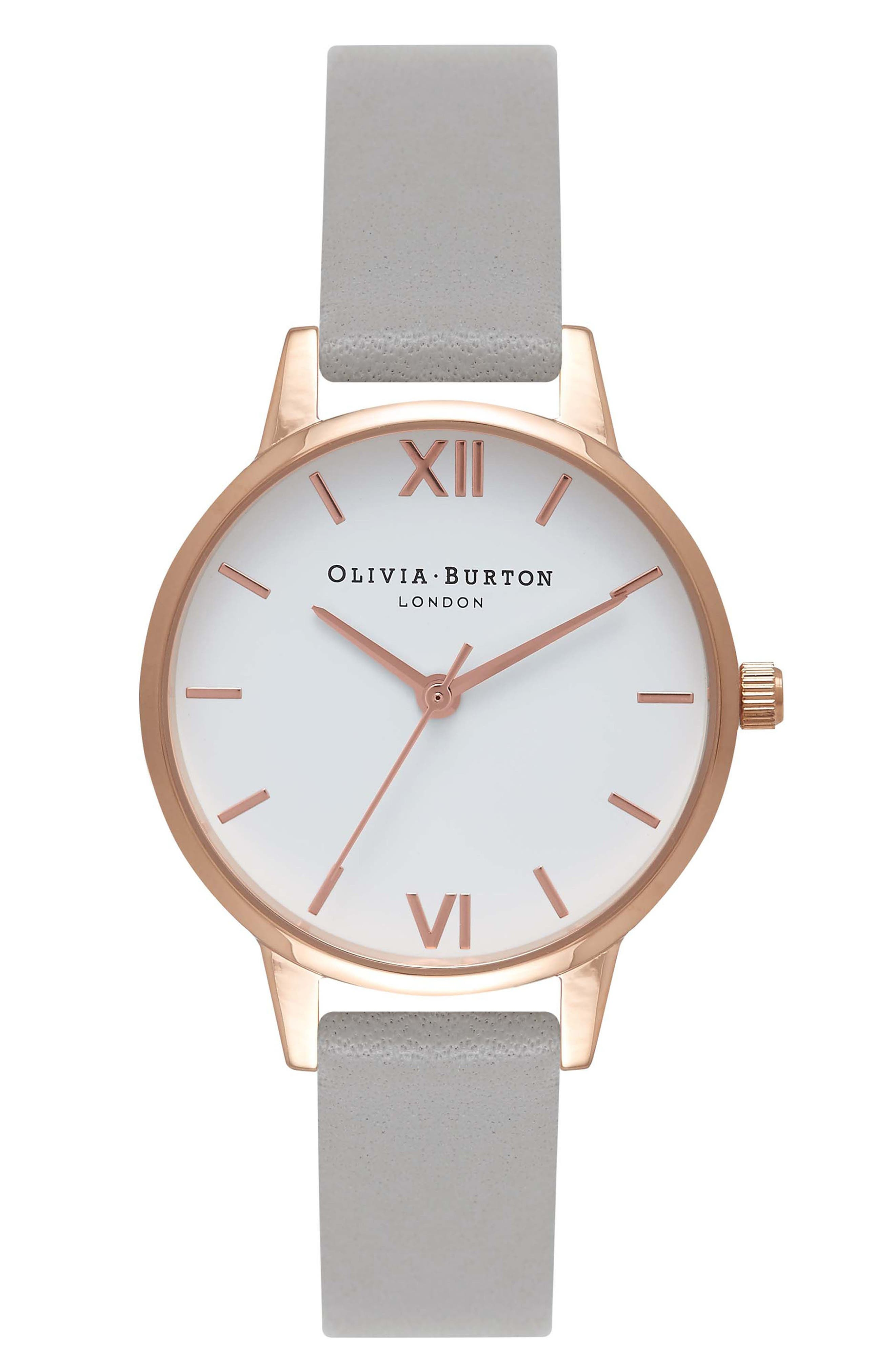 OLIVIA BURTON, Midi Dial Leather Strap Watch, 30mm, Main thumbnail 1, color, GREY/ WHITE/ ROSE GOLD