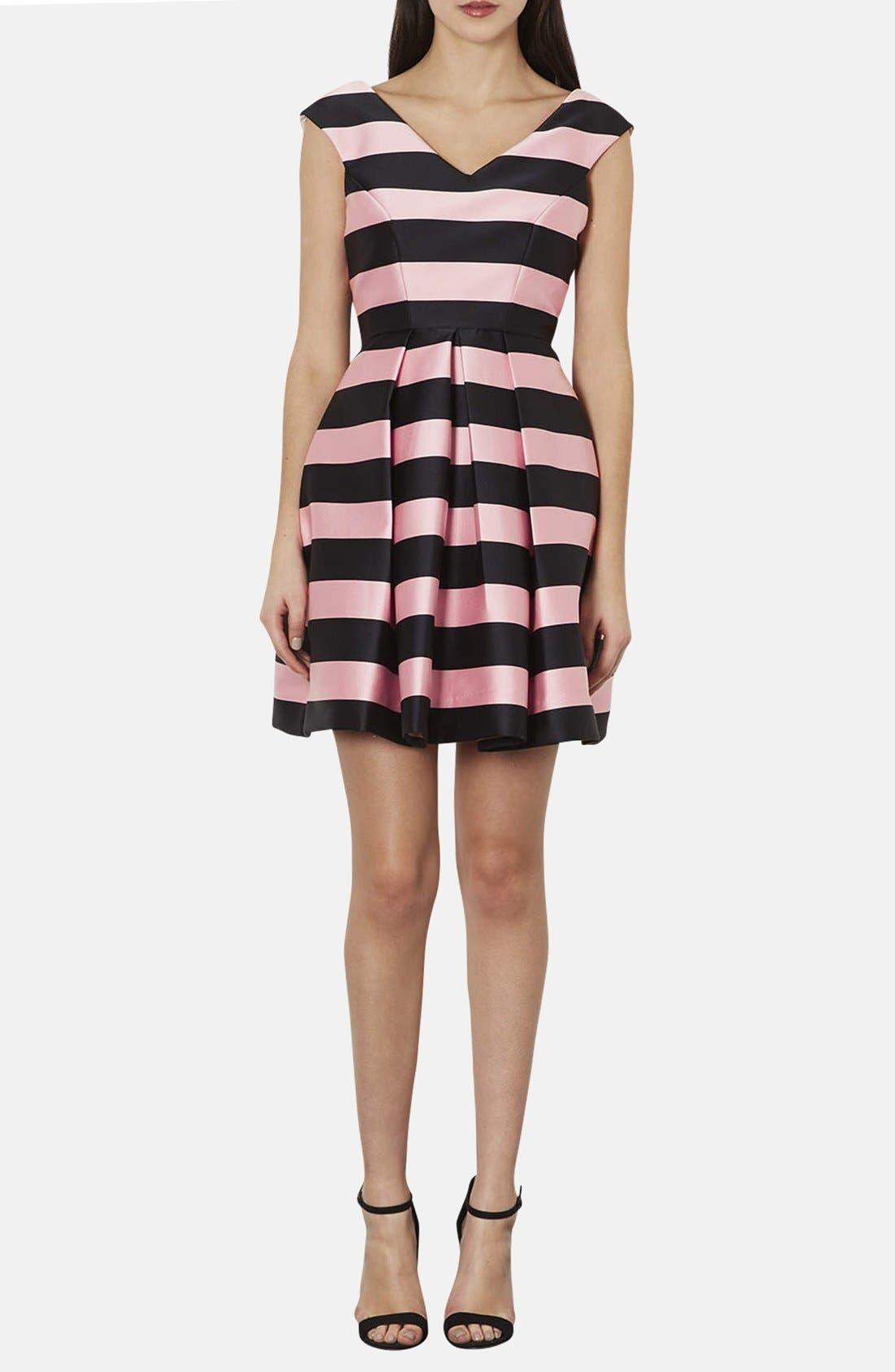 TOPSHOP, Stripe Satin Fit & Flare Dress, Main thumbnail 1, color, 001