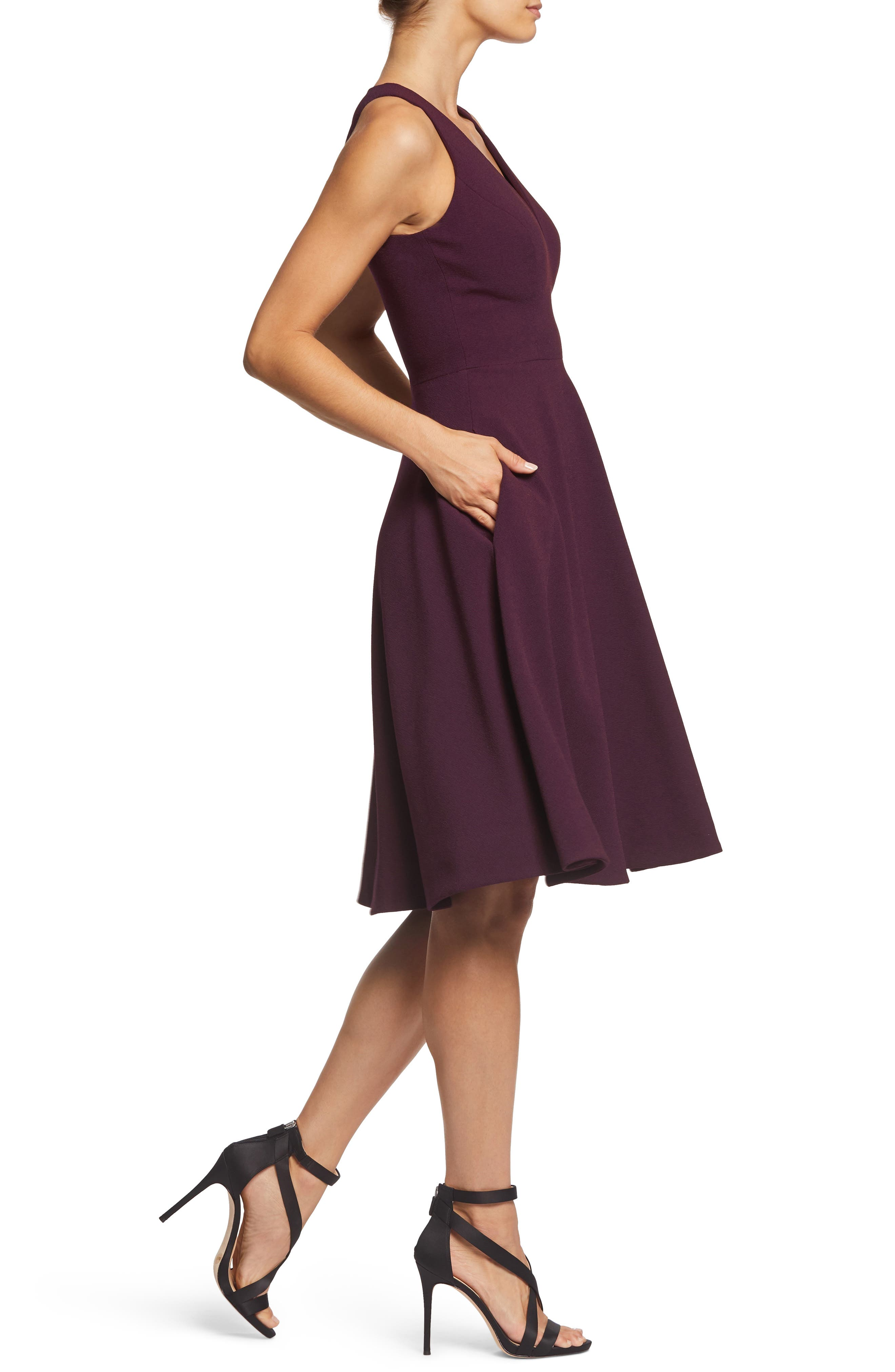 DRESS THE POPULATION, Catalina Tea Length Fit & Flare Dress, Alternate thumbnail 3, color, PLUM