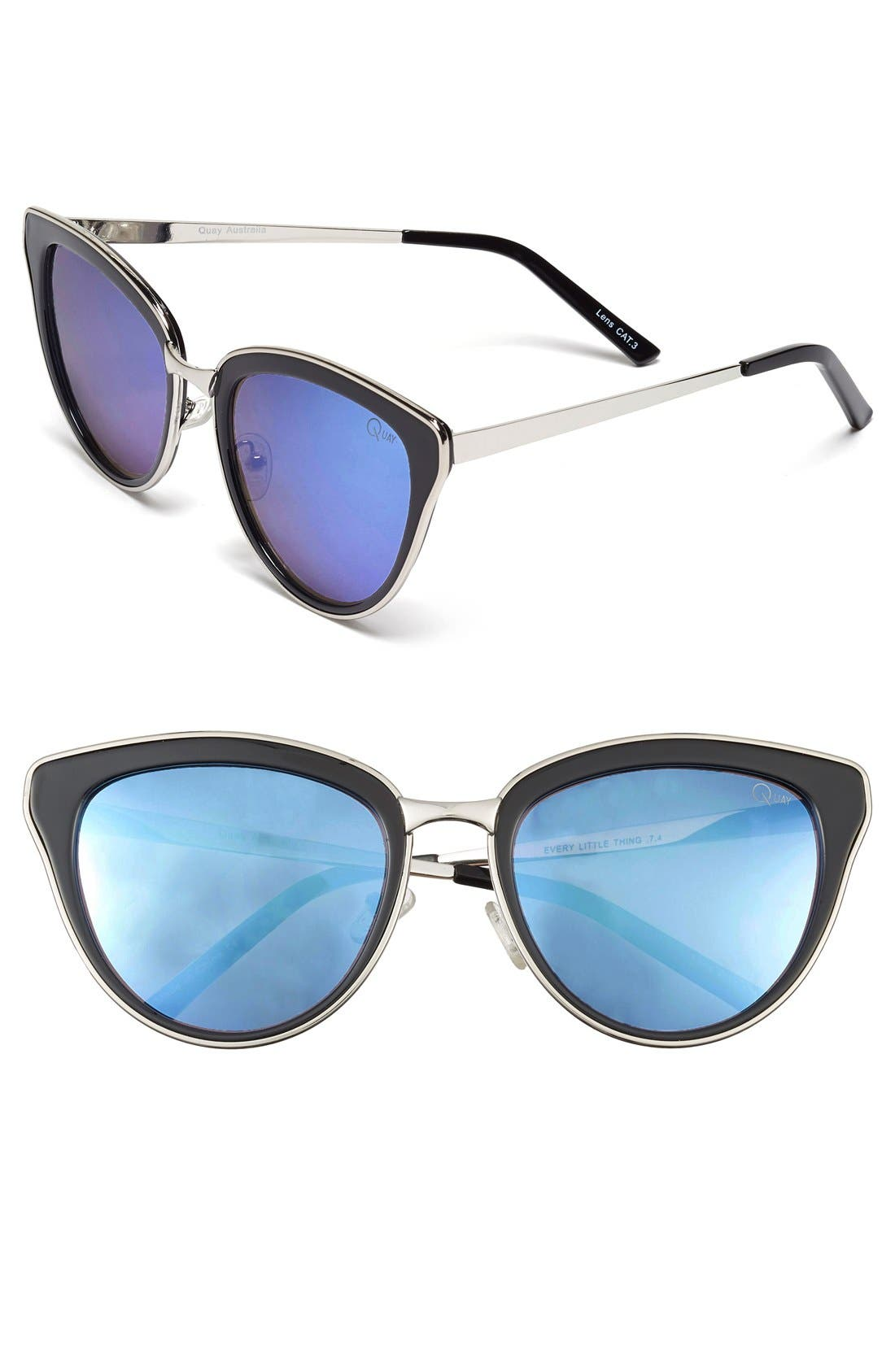 QUAY AUSTRALIA, 'Every Little Thing' 54mm Cat Eye Sunglasses, Main thumbnail 1, color, 002