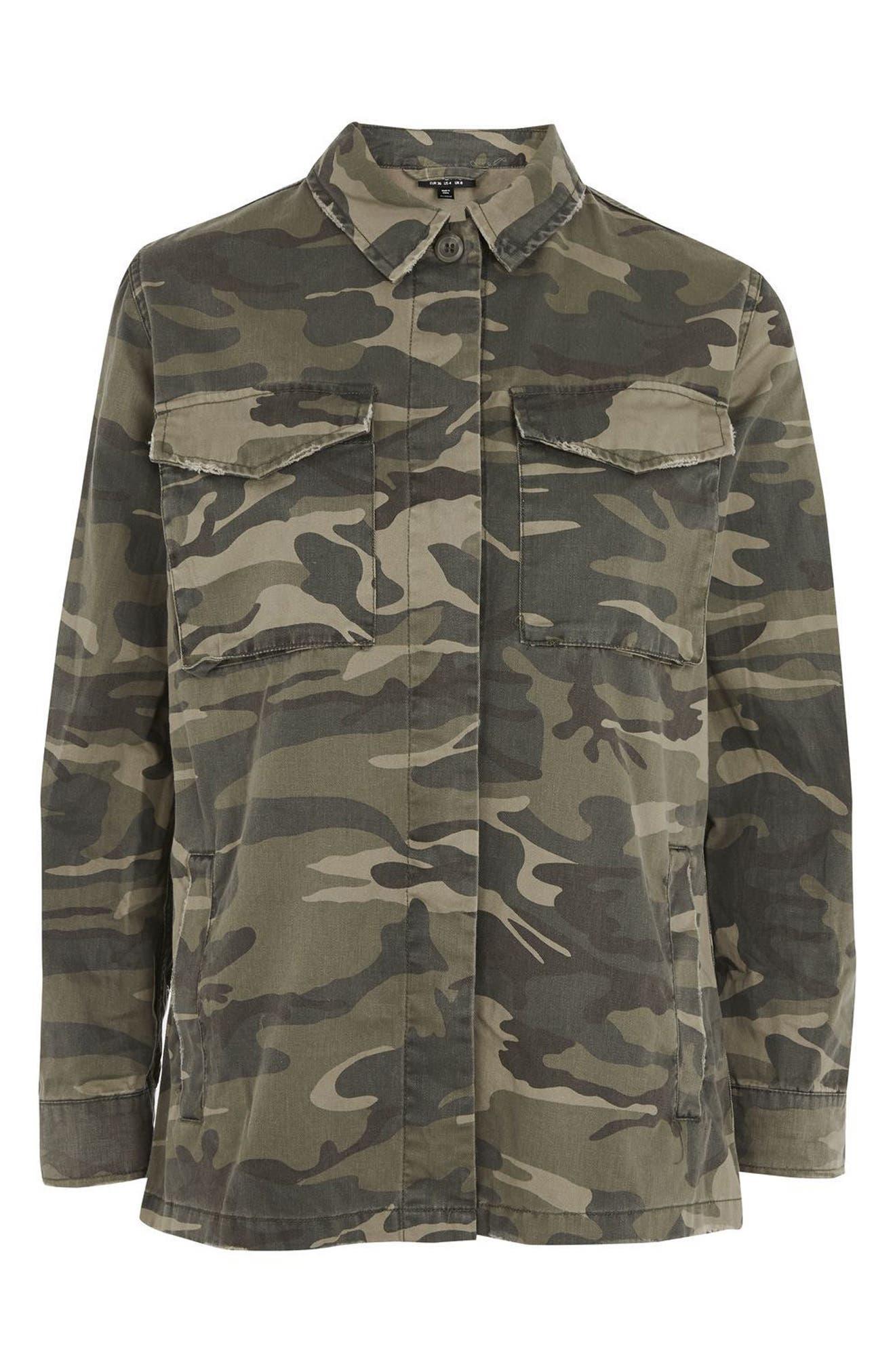 TOPSHOP, Sampson Camo Shirt Jacket, Alternate thumbnail 4, color, 300