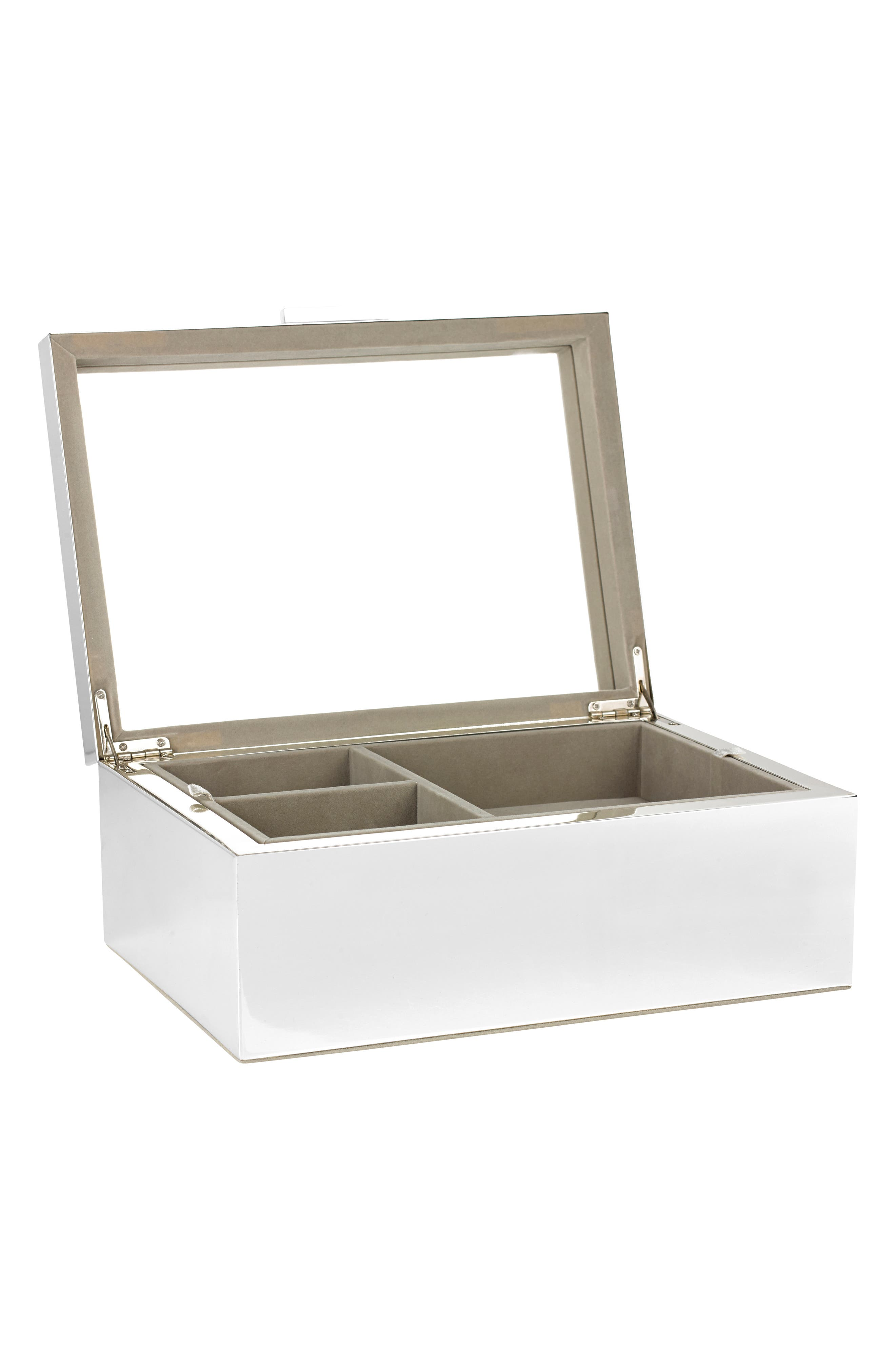 THE WHITE COMPANY Large Silver Plated Jewelry Box, Main, color, SILVER