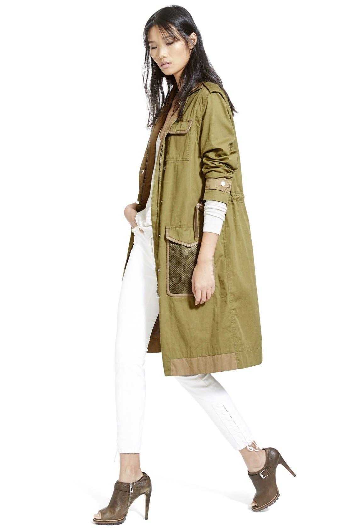 BELSTAFF, Leather Trim Tactical Cotton Gabardine Coat, Alternate thumbnail 2, color, 309
