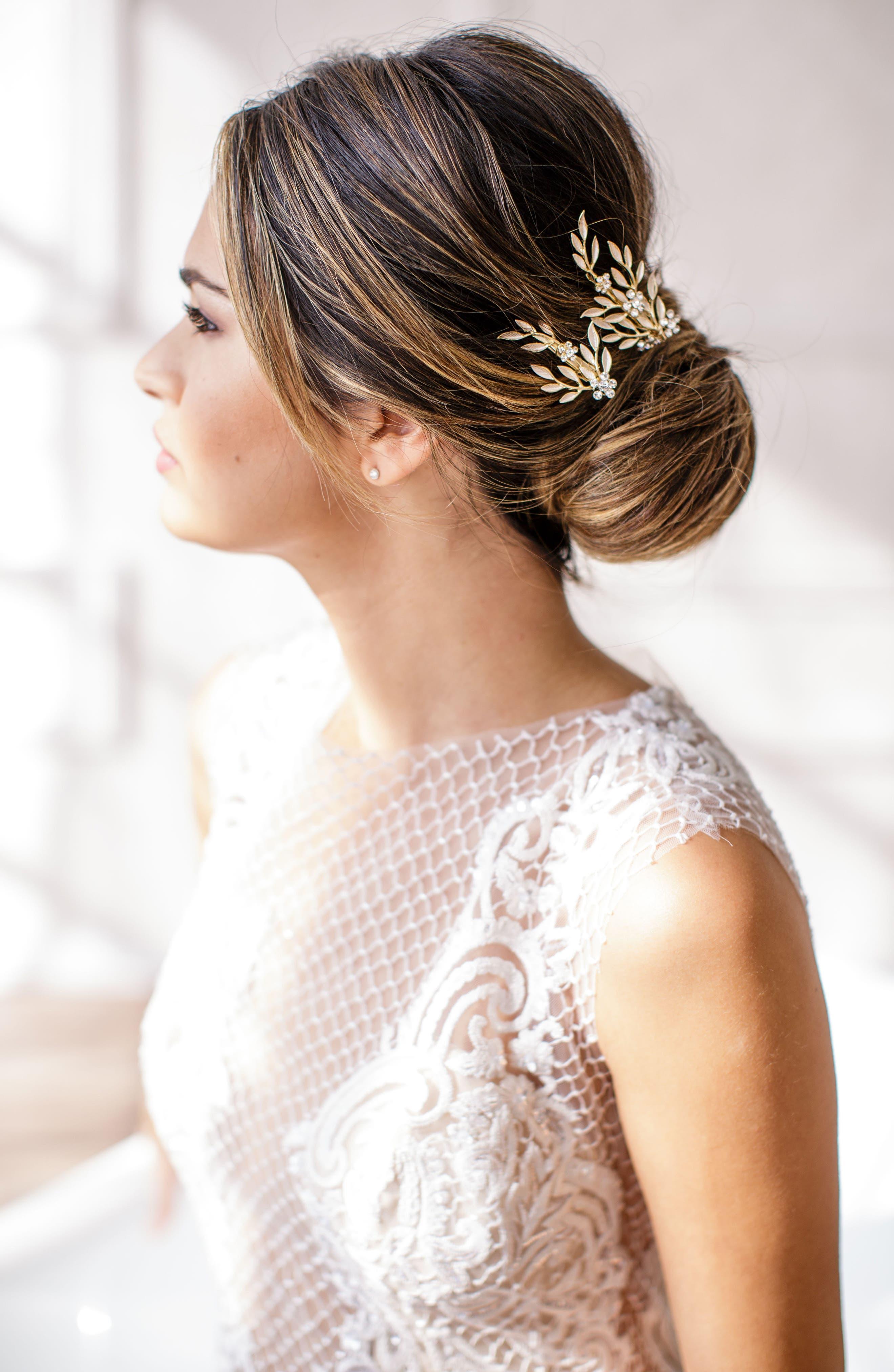 BRIDES & HAIRPINS, Calvina 2-Piece Hair Clip Set, Alternate thumbnail 6, color, GOLD