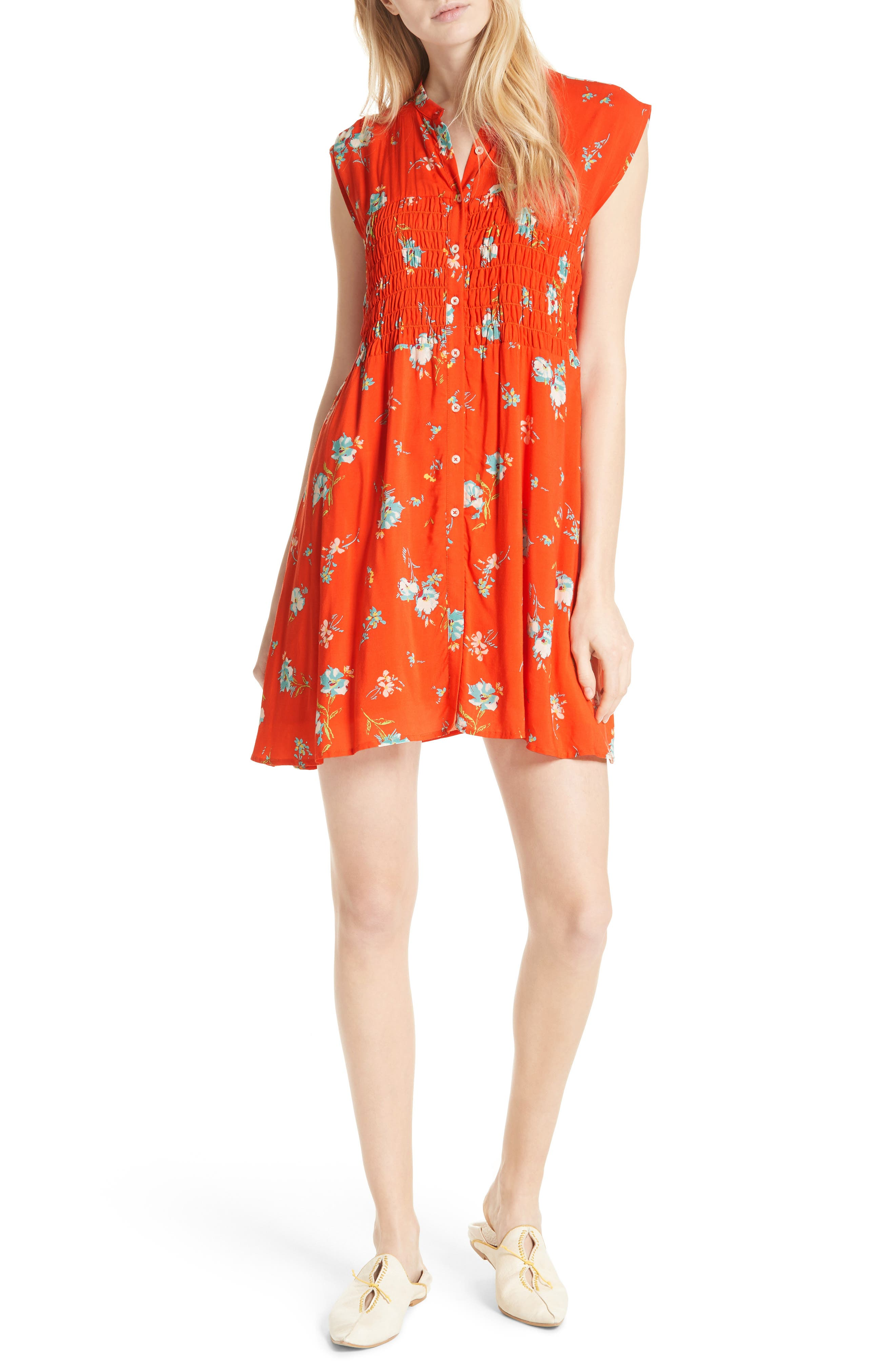 FREE PEOPLE, Greatest Day Smocked Minidress, Main thumbnail 1, color, RED