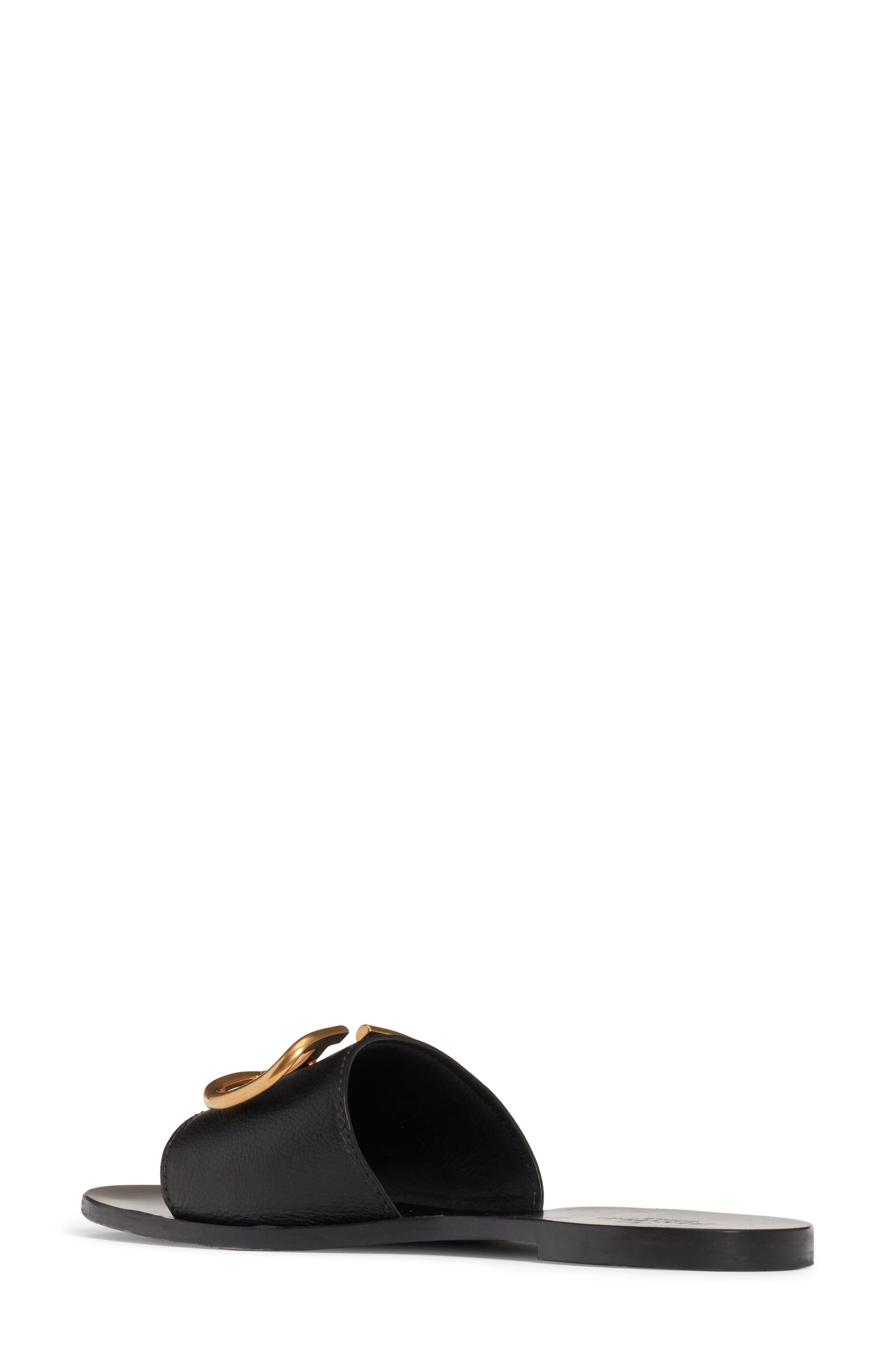 VALENTINO GARAVANI, Brooch Slide Sandal, Alternate thumbnail 2, color, BLACK