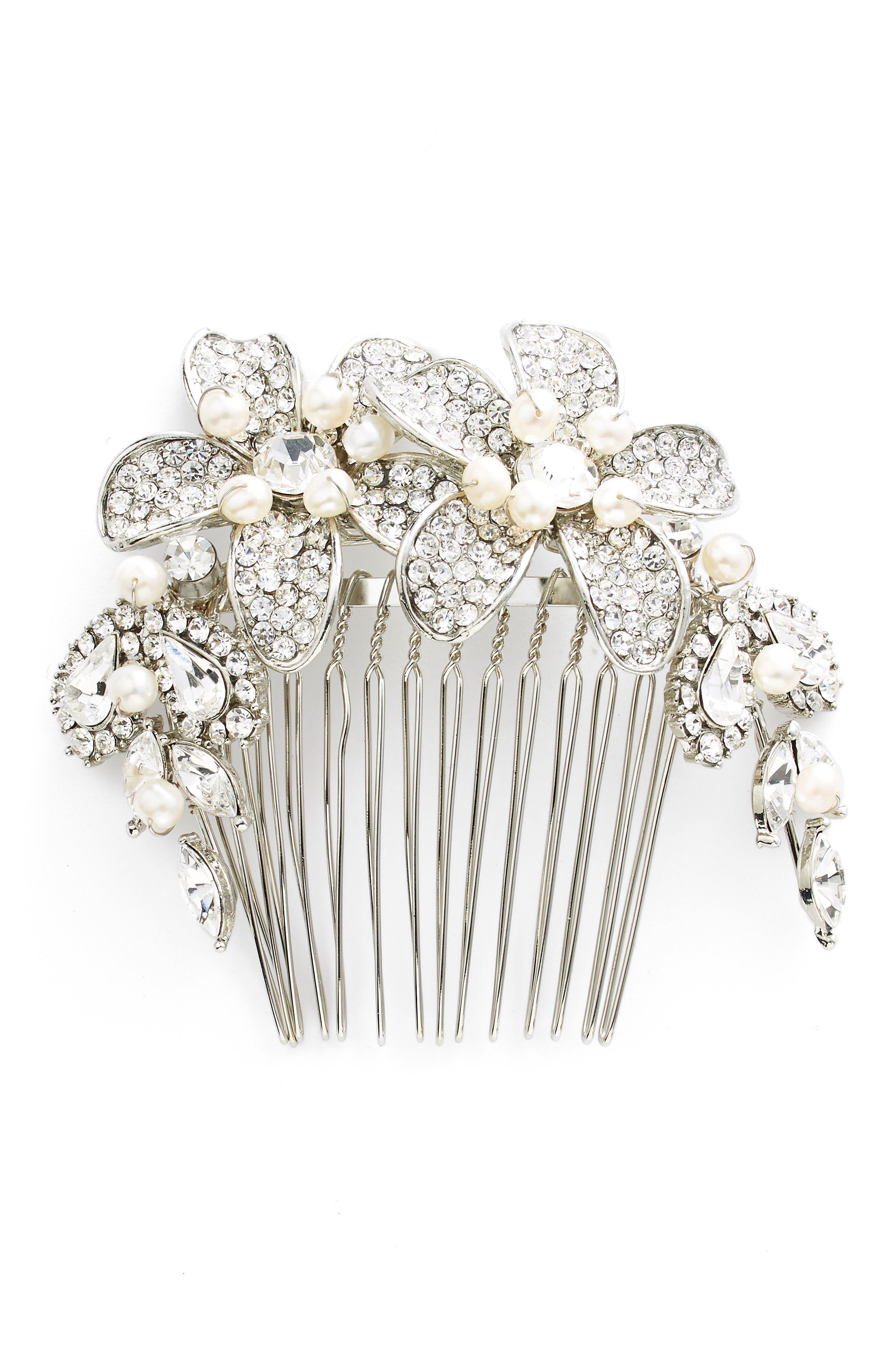 WEDDING BELLES NEW YORK, Bead & Crystal Head Comb, Main thumbnail 1, color, SILVER
