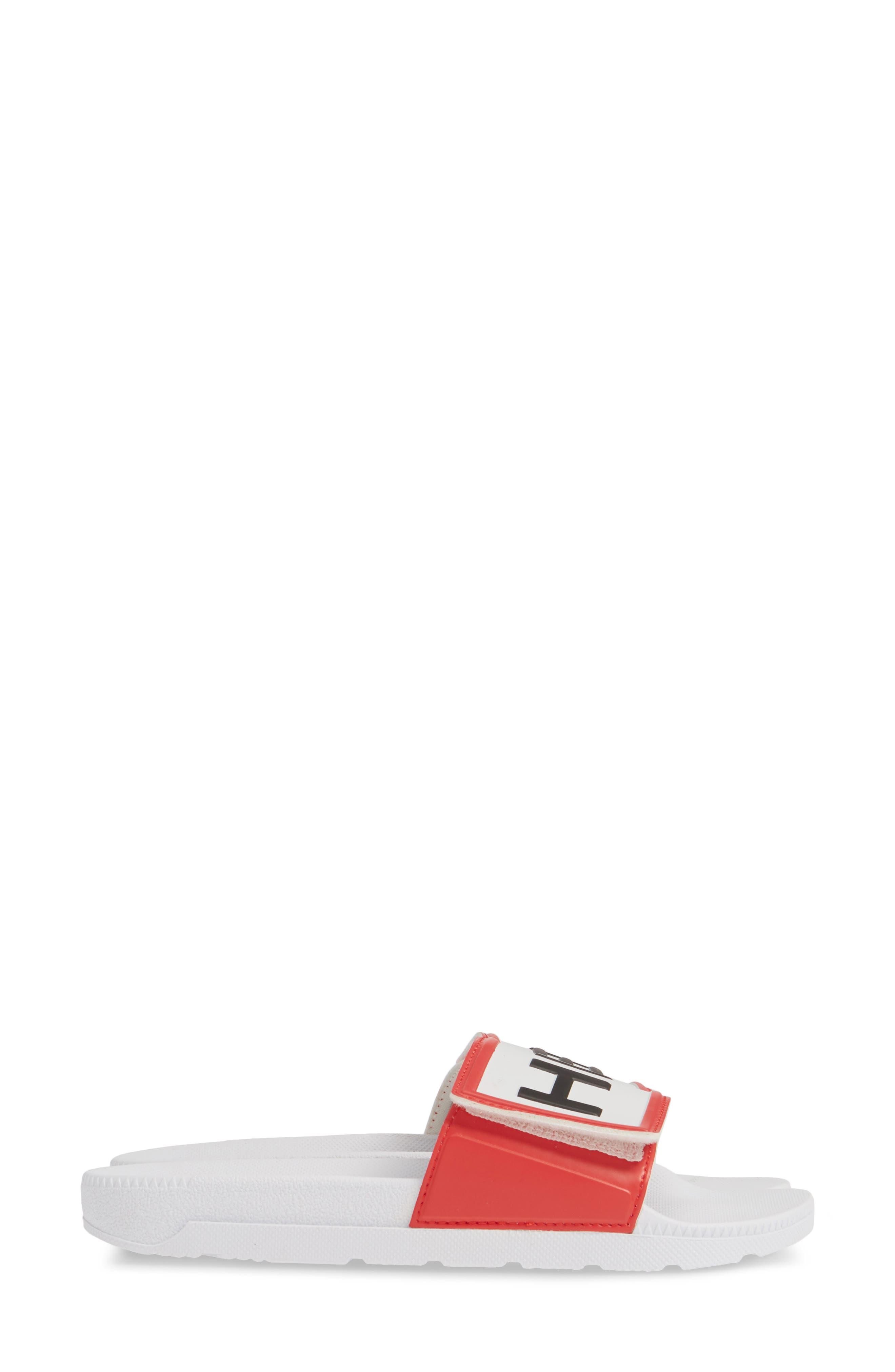 HUNTER, Original Adjustable Logo Slide Sandal, Alternate thumbnail 4, color, WHITE/ WHITE