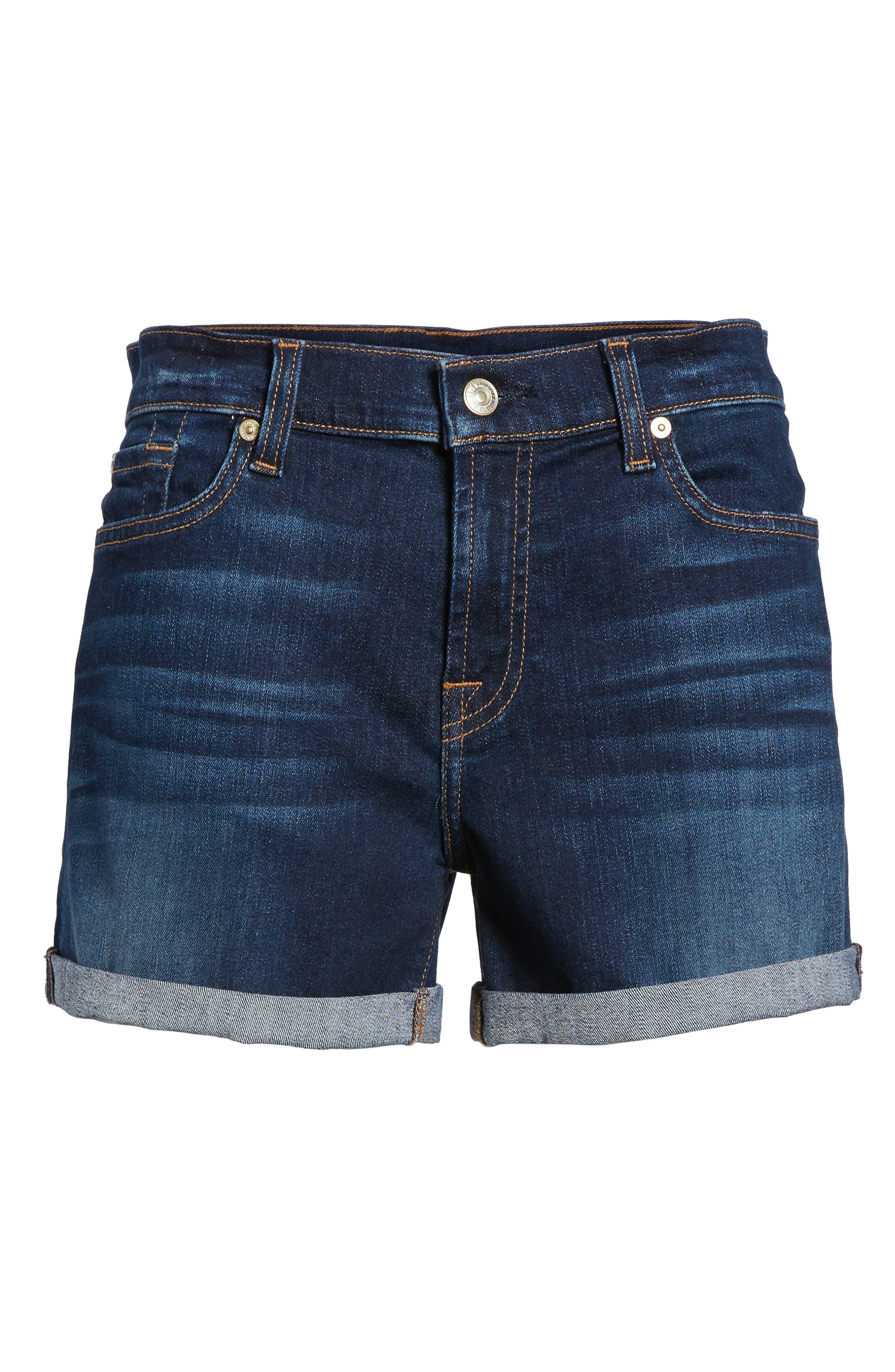 7 FOR ALL MANKIND<SUP>®</SUP>, b(air) Cuffed Denim Shorts, Alternate thumbnail 7, color, MORENO