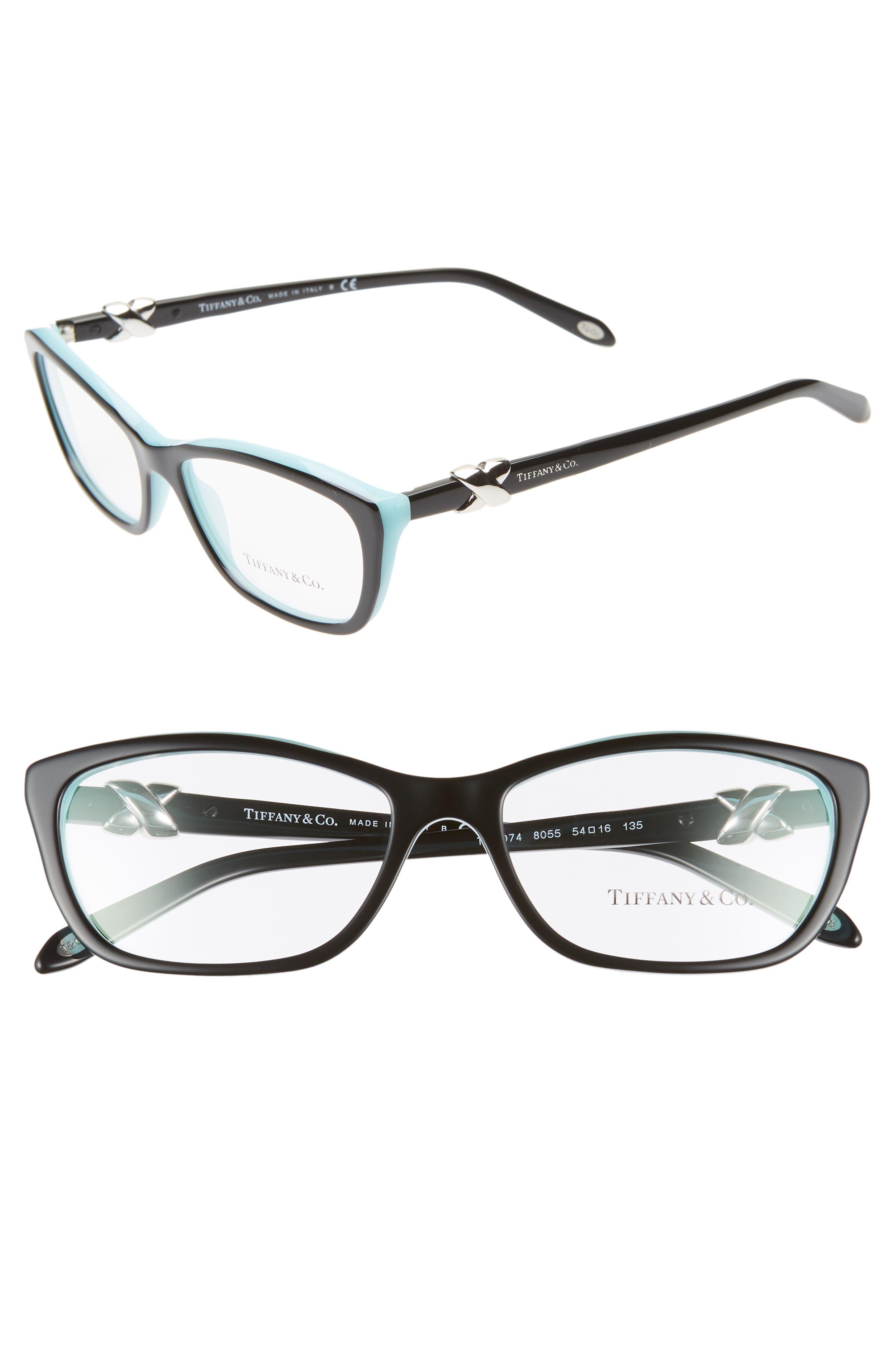 TIFFANY & CO., 54mm Cat Eye Optical Glasses, Main thumbnail 1, color, TOP BLACK/ BLUE