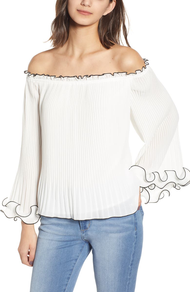 Endless Rose Tops OFF THE SHOULDER PLEATED CHIFFON BLOUSE