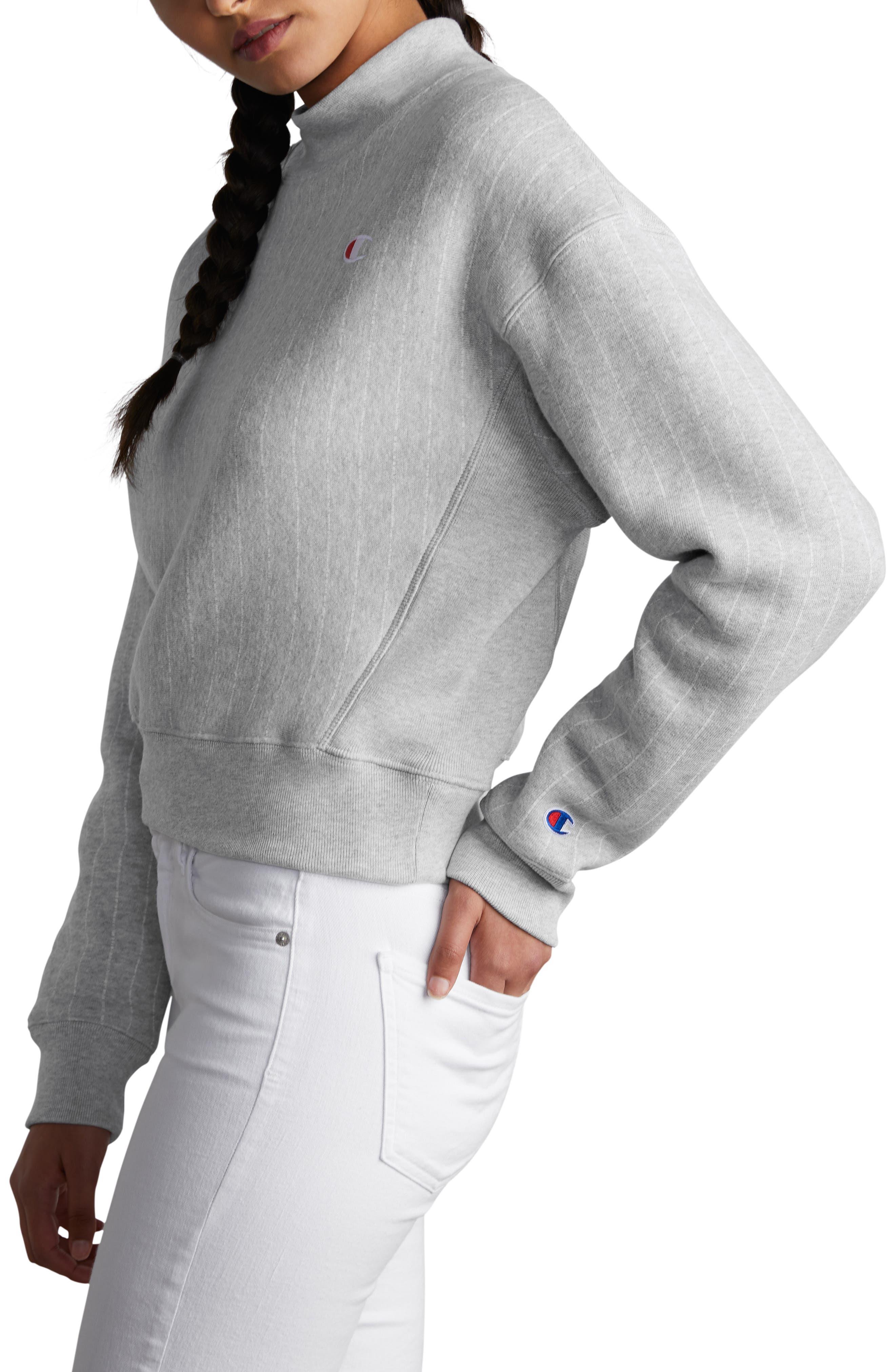 CHAMPION, Mock Neck Reverse Panel Crop Sweatshirt, Alternate thumbnail 4, color, PINSTRIPE OXFORD GREY