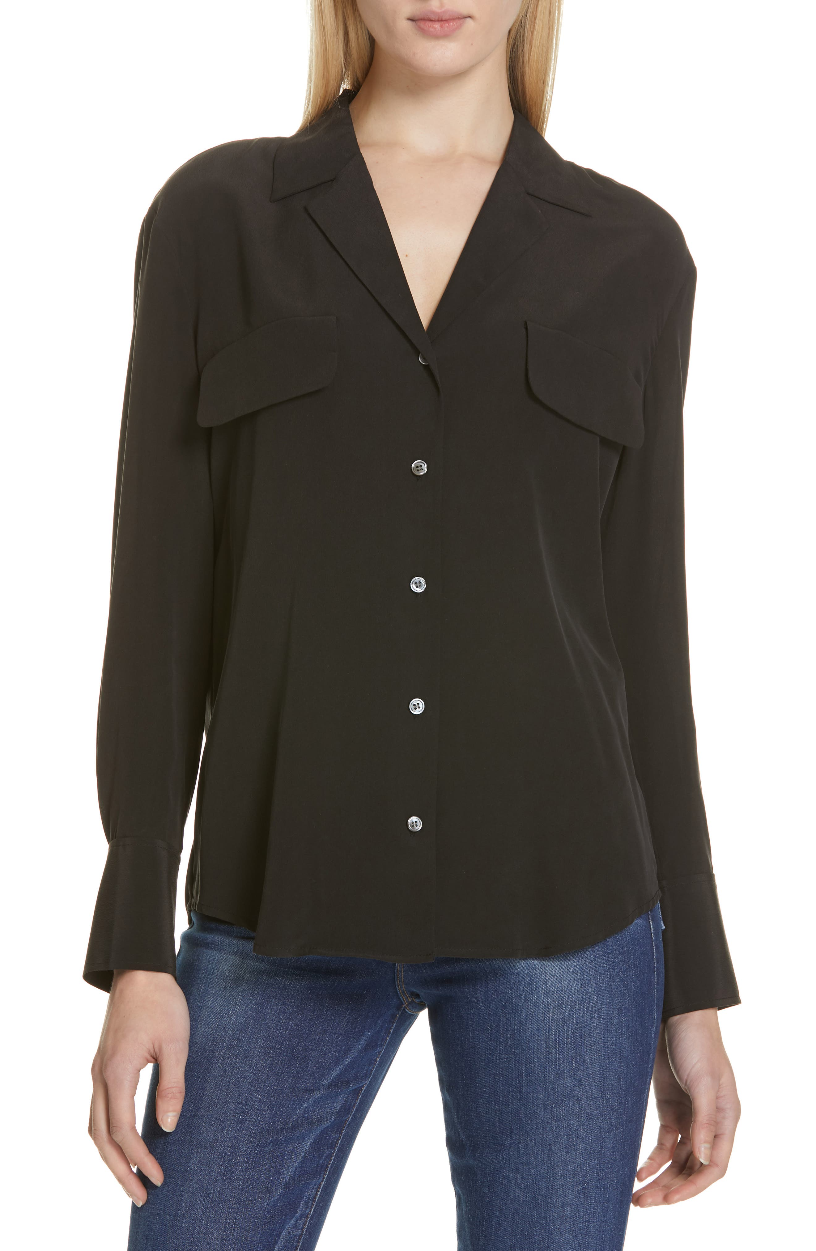 FRAME, Pocket Silk Blouse, Main thumbnail 1, color, BLACK