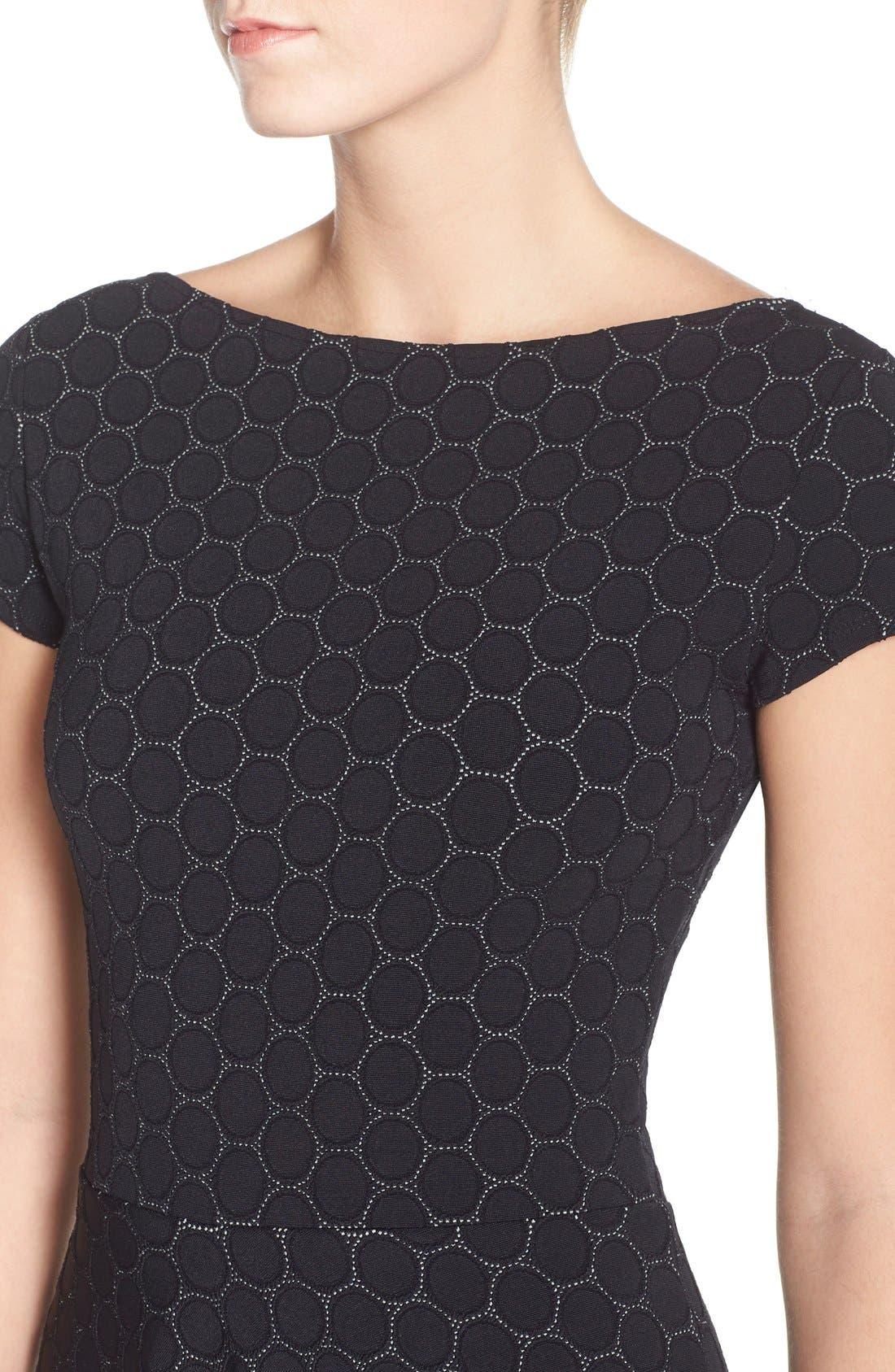 LEOTA, 'Circle' Jacquard Woven Jersey Dress, Alternate thumbnail 4, color, BLACK CAMEO CLOTH