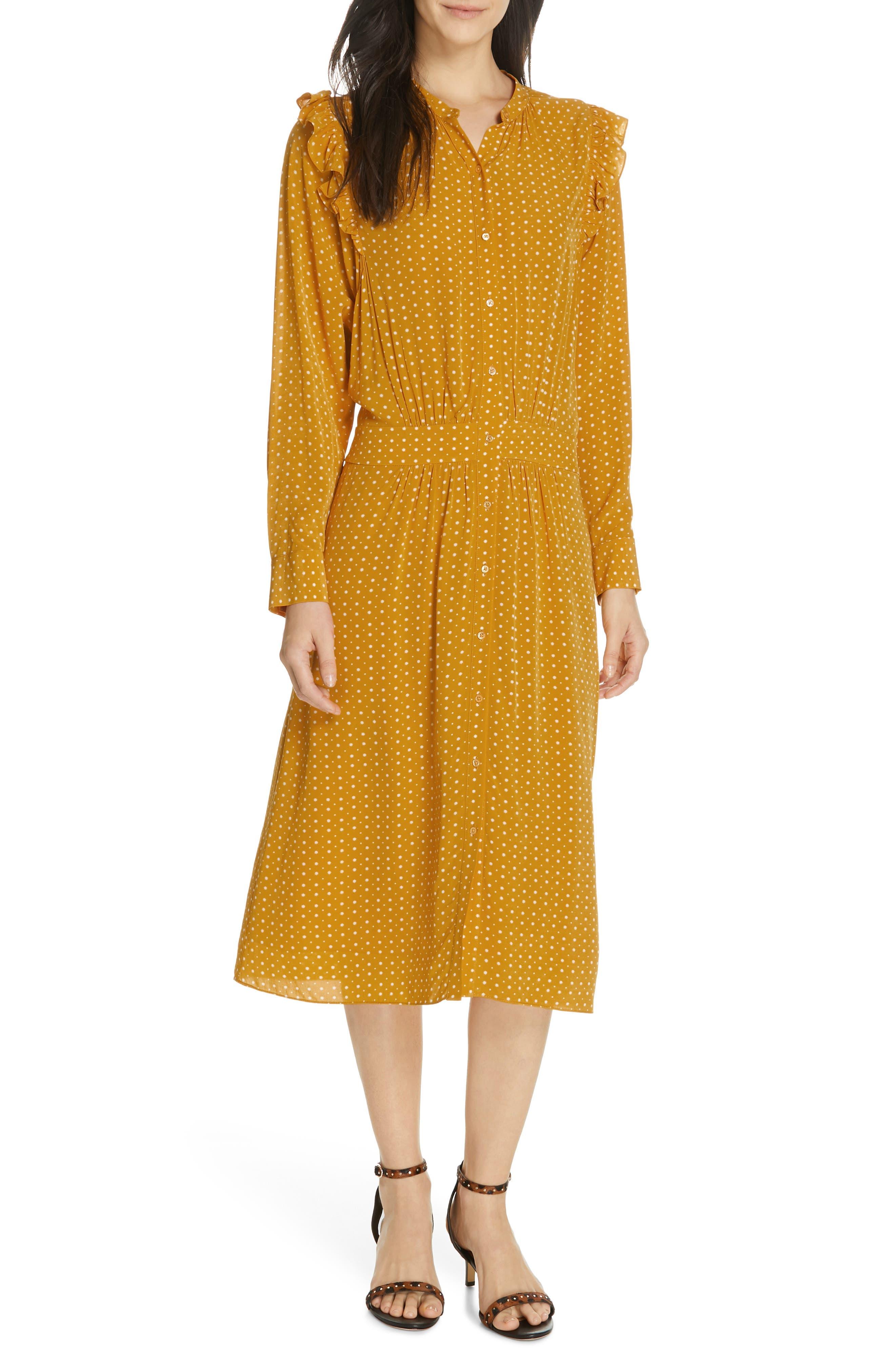 Joie Redson Print Midi Dress, Yellow