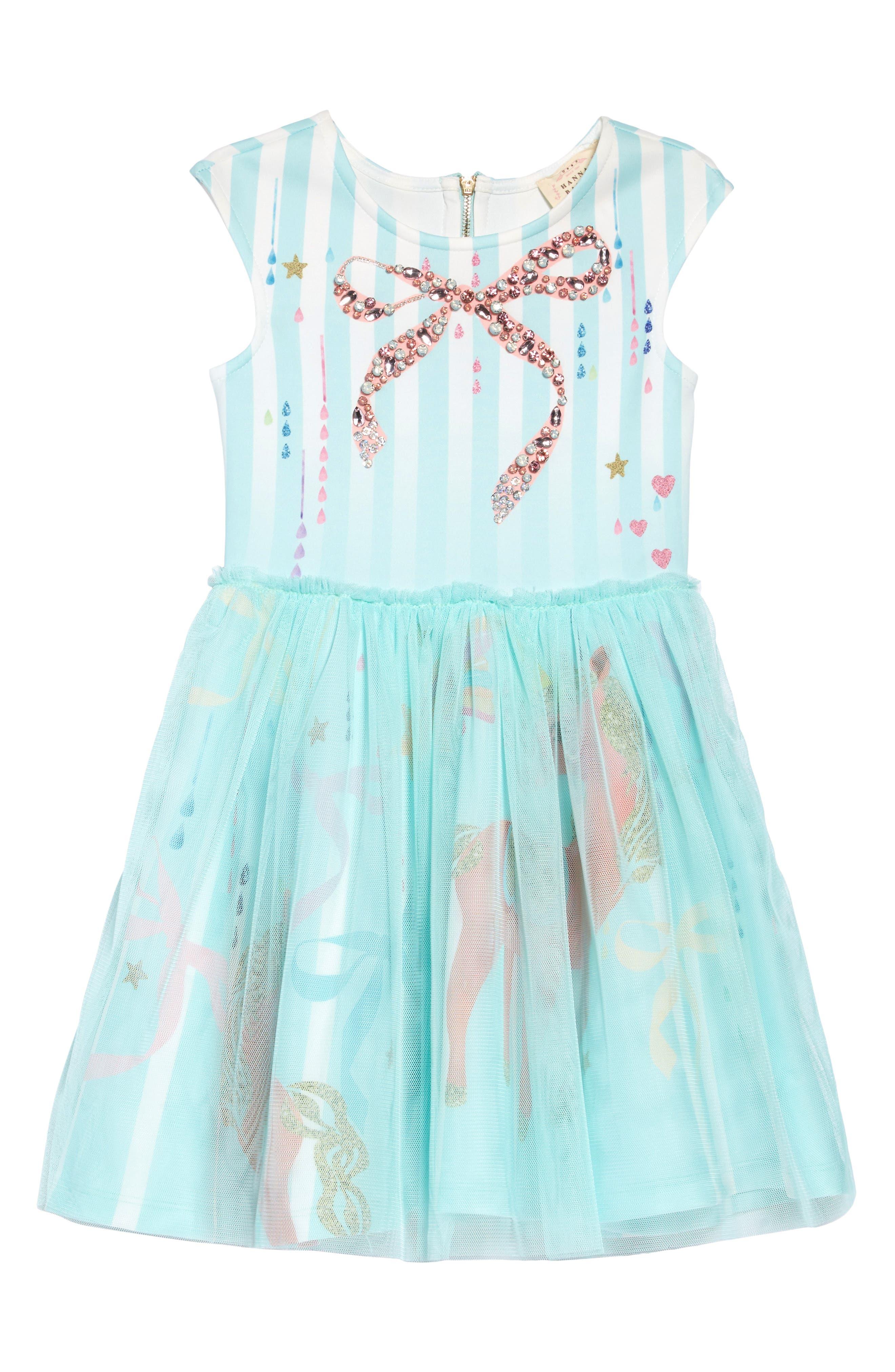HANNAH BANANA, Bow & Unicorn Fit & Flare Tulle Dress, Main thumbnail 1, color, MINT MULTI