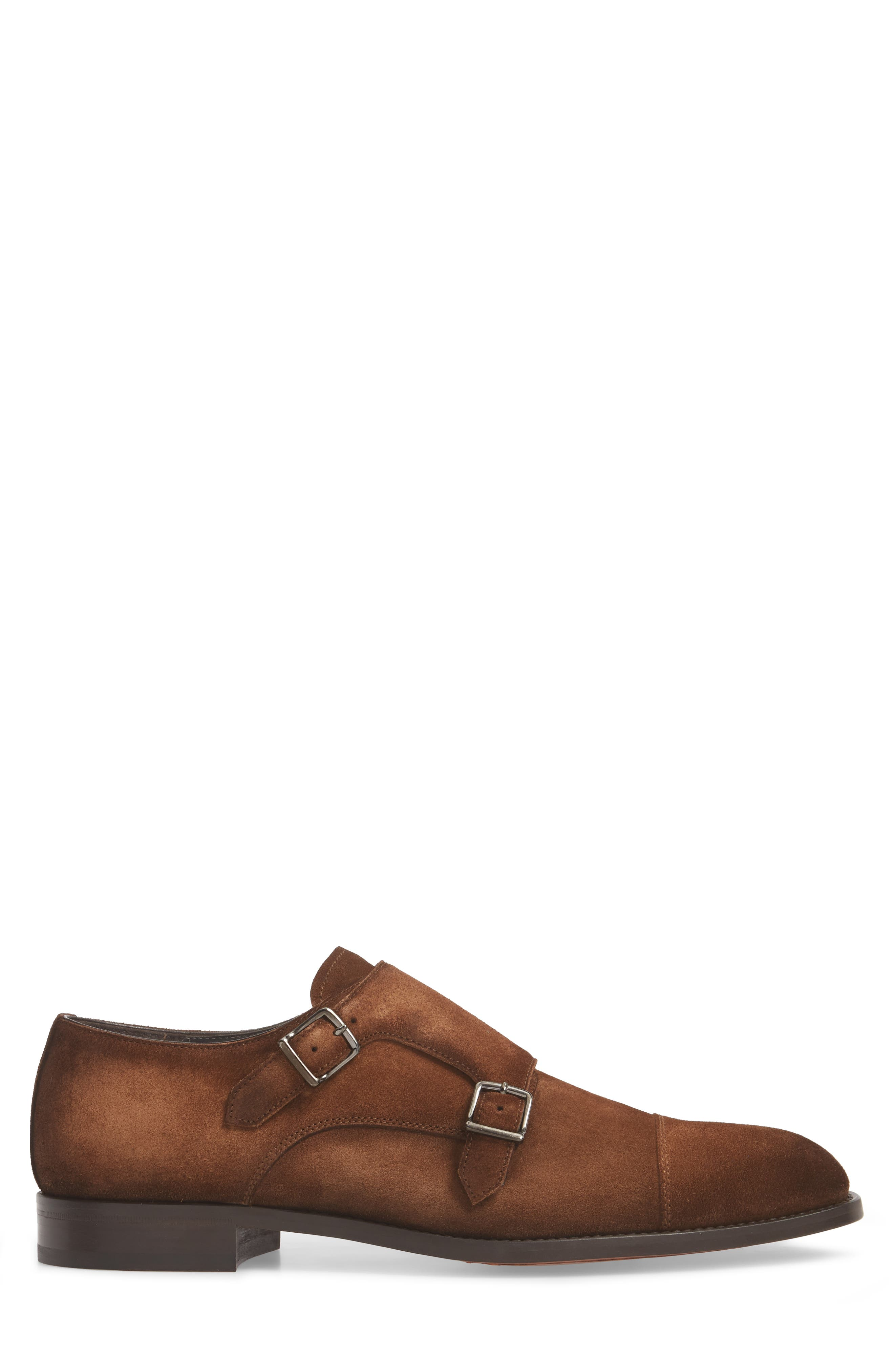 TO BOOT NEW YORK, Quentin Cap Toe Monk Shoe, Alternate thumbnail 3, color, BROWN SUEDE LEATHER