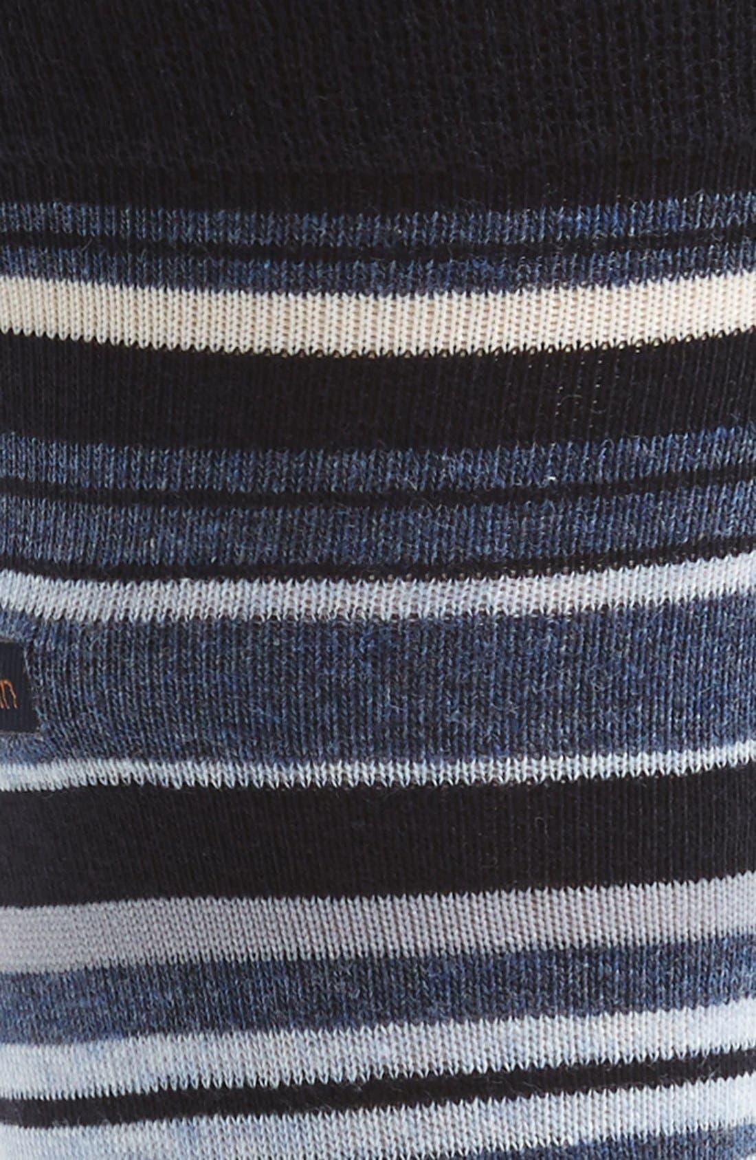 CALVIN KLEIN, Multistripe Emblem Socks, Alternate thumbnail 2, color, NAVY/ DENIM HEATHER