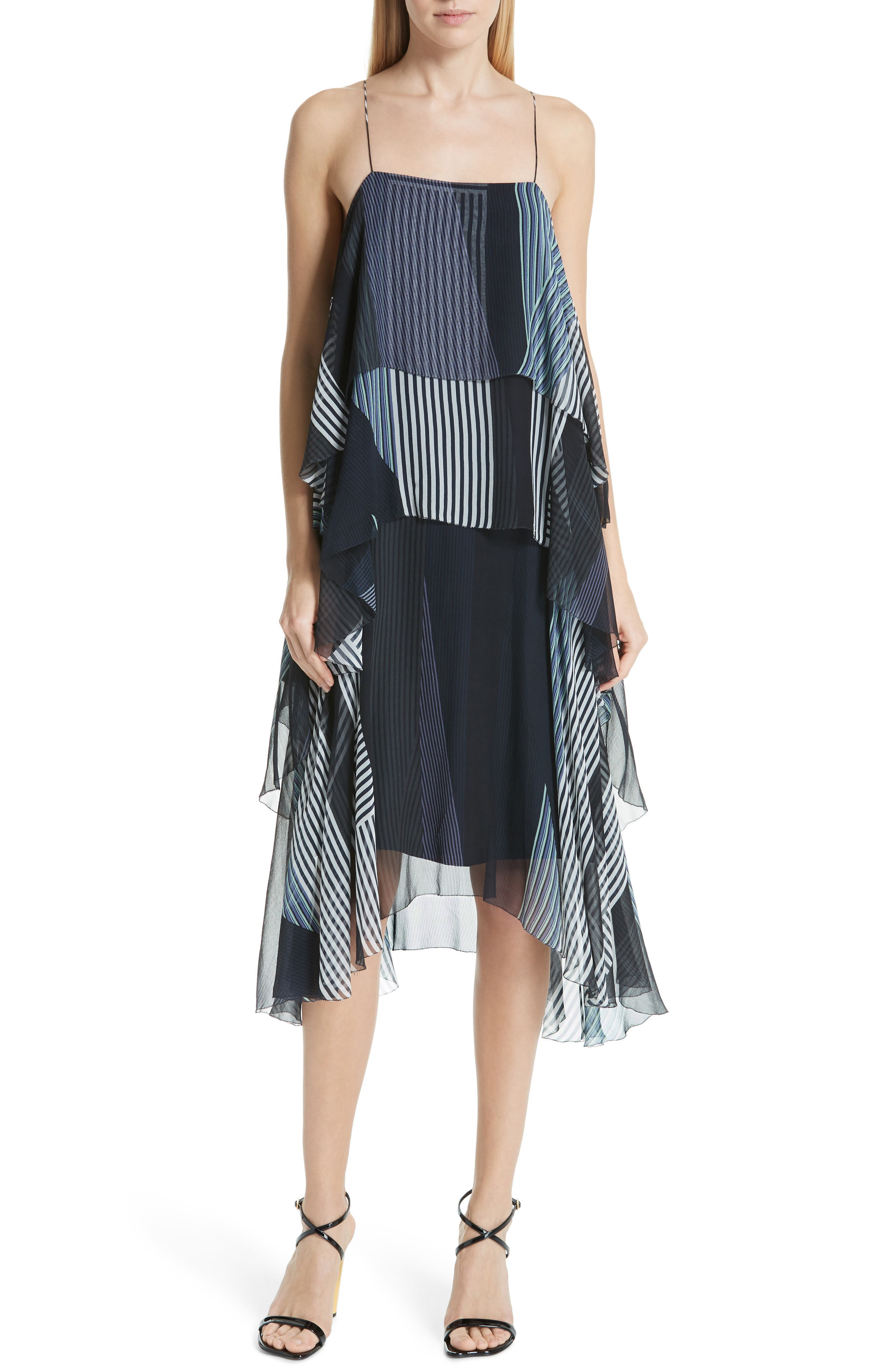 JASON WU Collage Stripe Silk Tiered Dress, Main, color, DARK NAVY MULTI